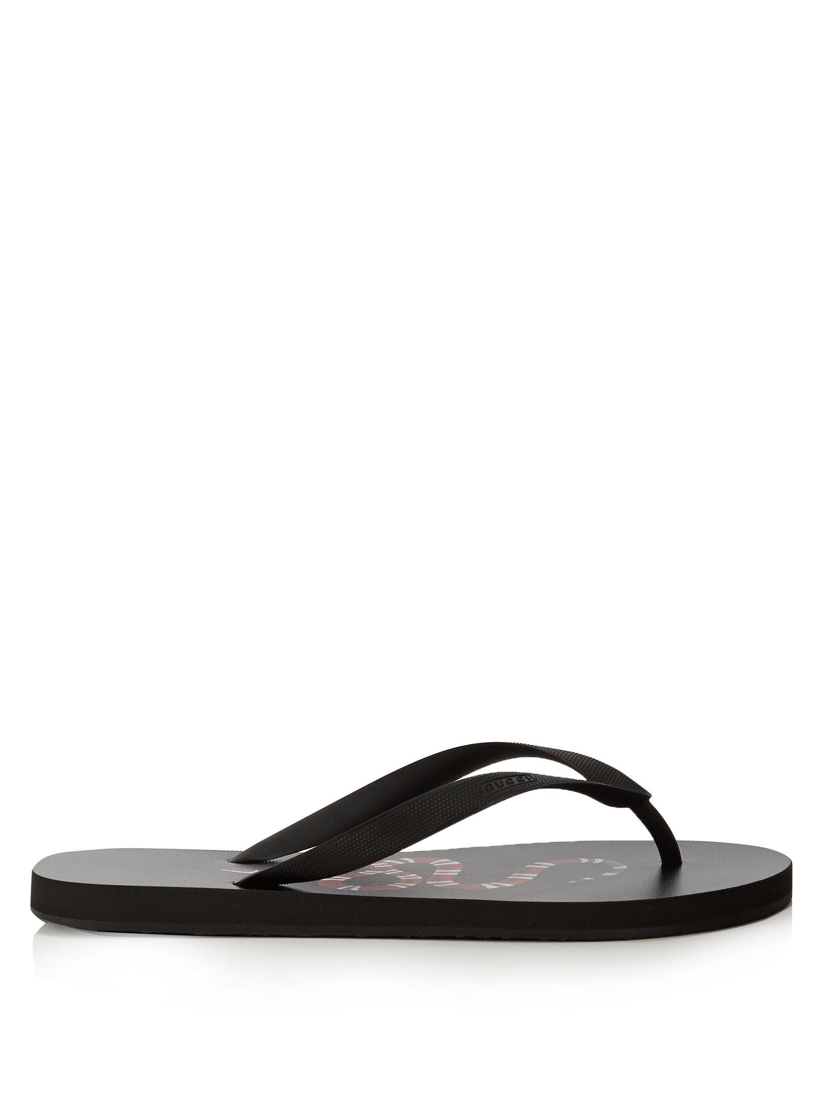 Lyst - Gucci Snake-print Flip Flops in Black for Men 08b30d0fb