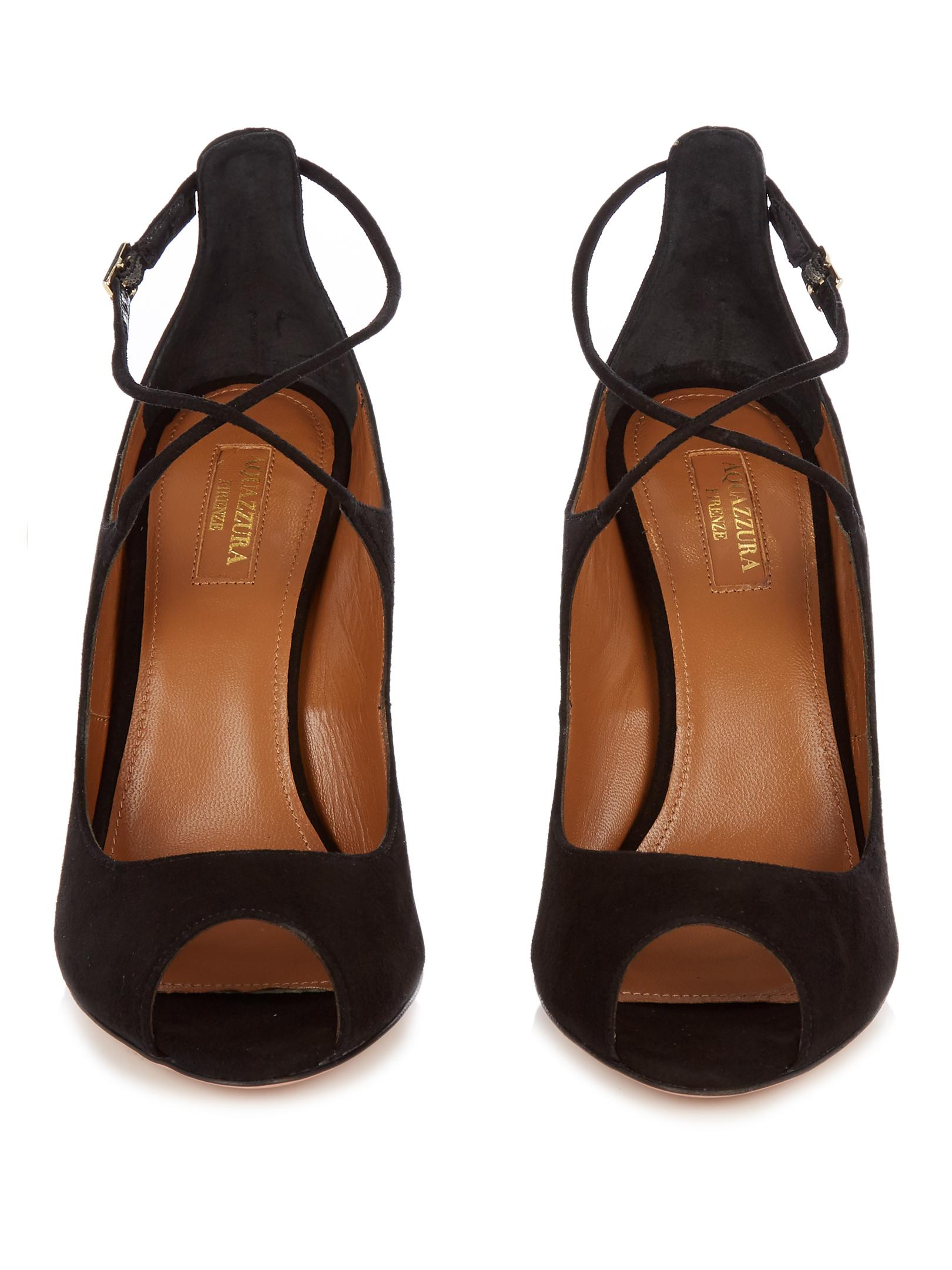 Black Suede Shoes With Cross Straps
