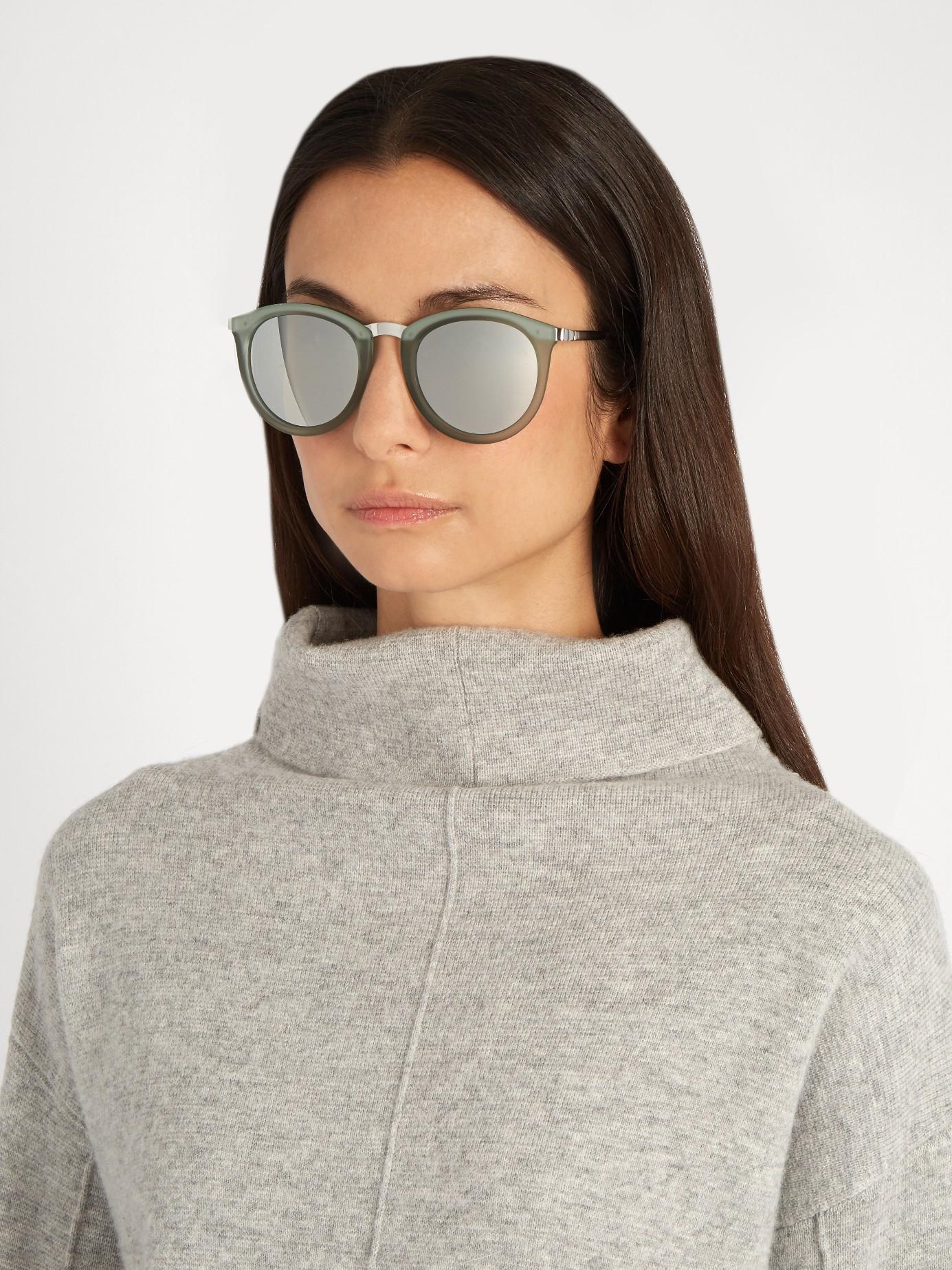 4fe3a77e963 Le Specs No Smirking Round-frame Sunglasses in Green - Lyst