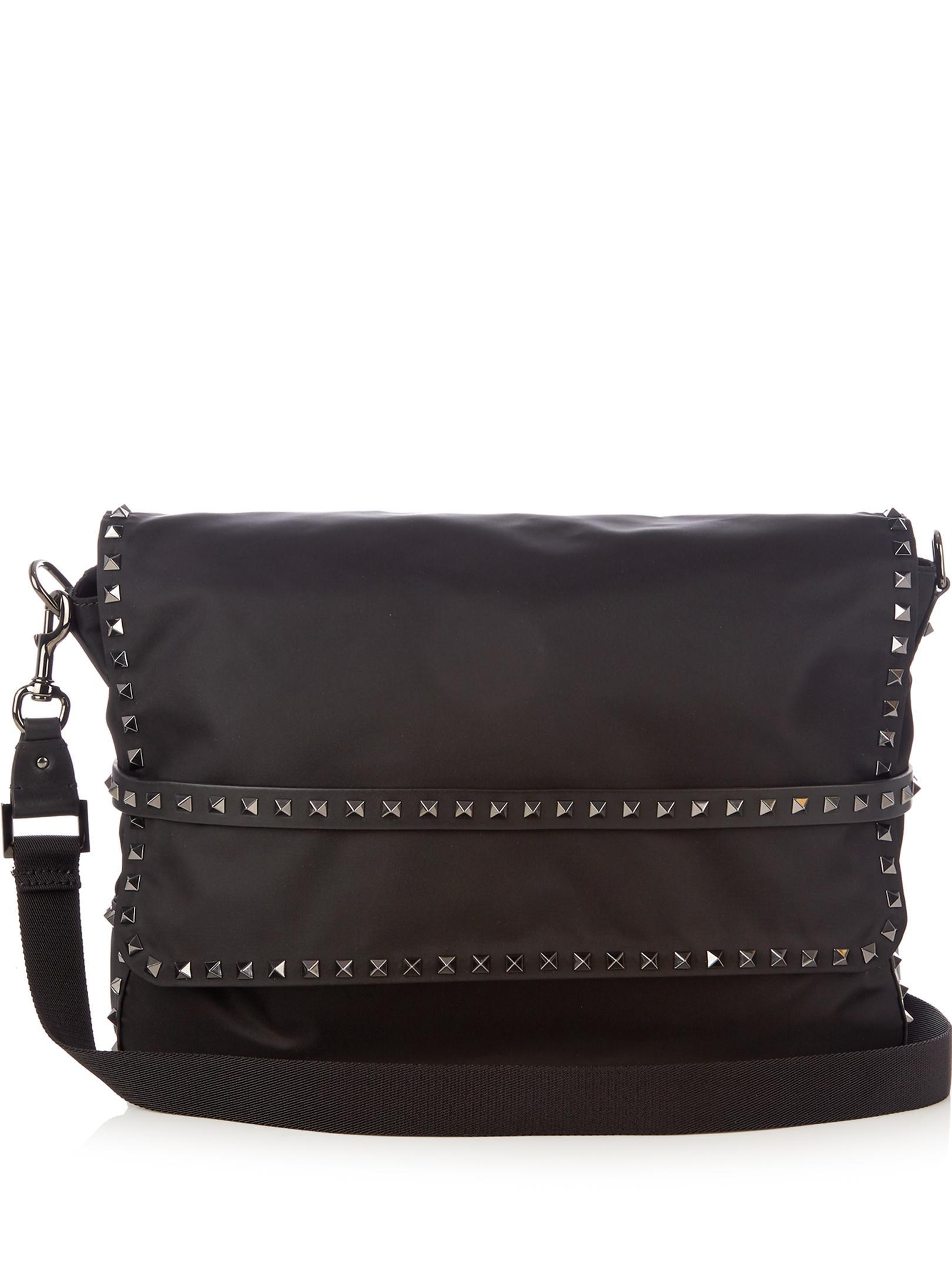 Valentino Rockstud Nylon Messenger Bag in Black for Men | Lyst