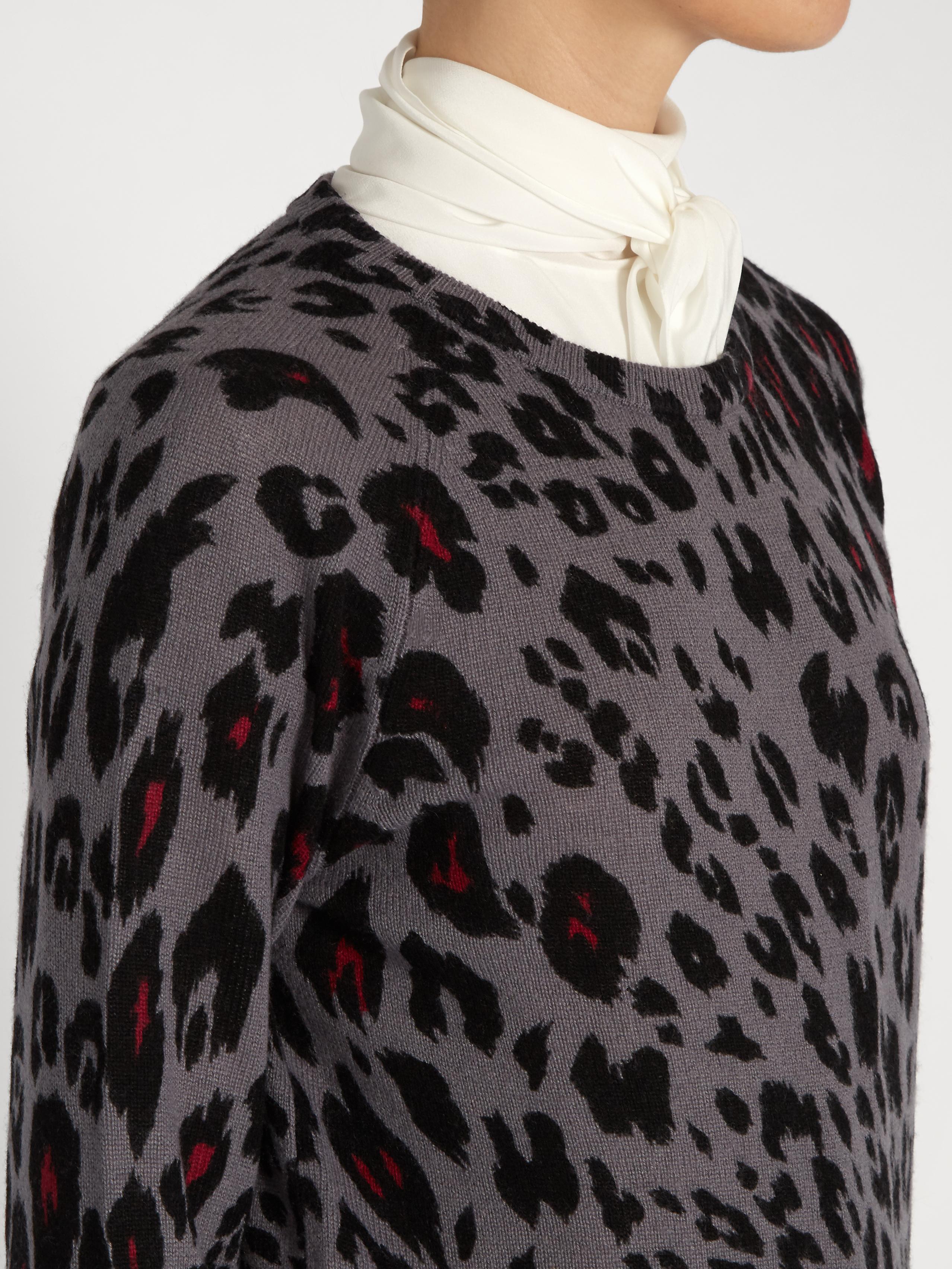 6879953e0414 Equipment Sloane Cheetah-print Cashmere Sweater in Gray - Lyst