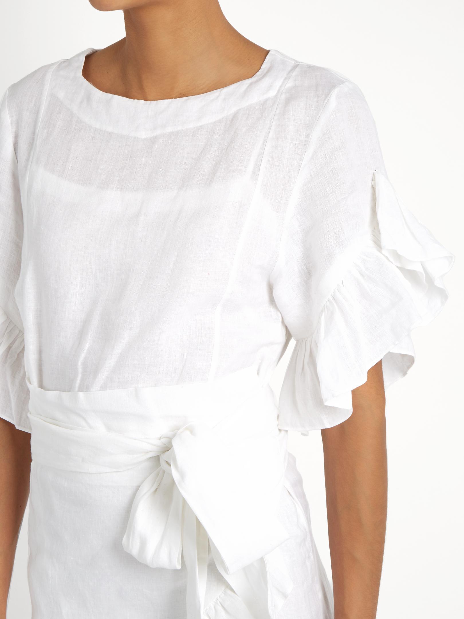 f1e24f76c9 Lyst - Étoile Isabel Marant Delicia Ruffled Linen Mini Dress in White