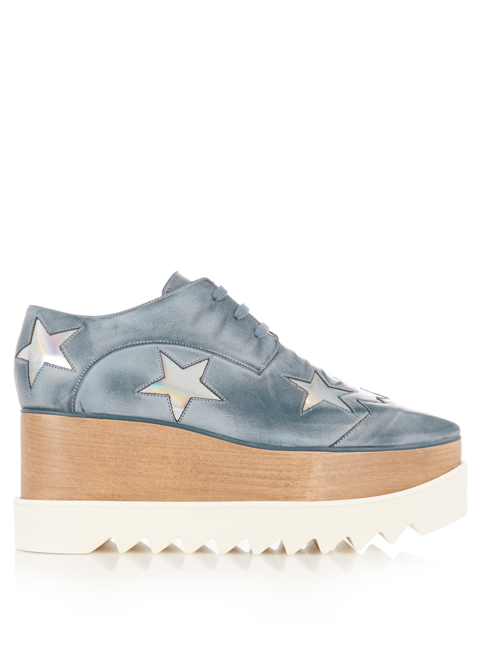 cf746c27347a Lyst - Stella McCartney Elyse Lace-up Platform Shoes in Blue