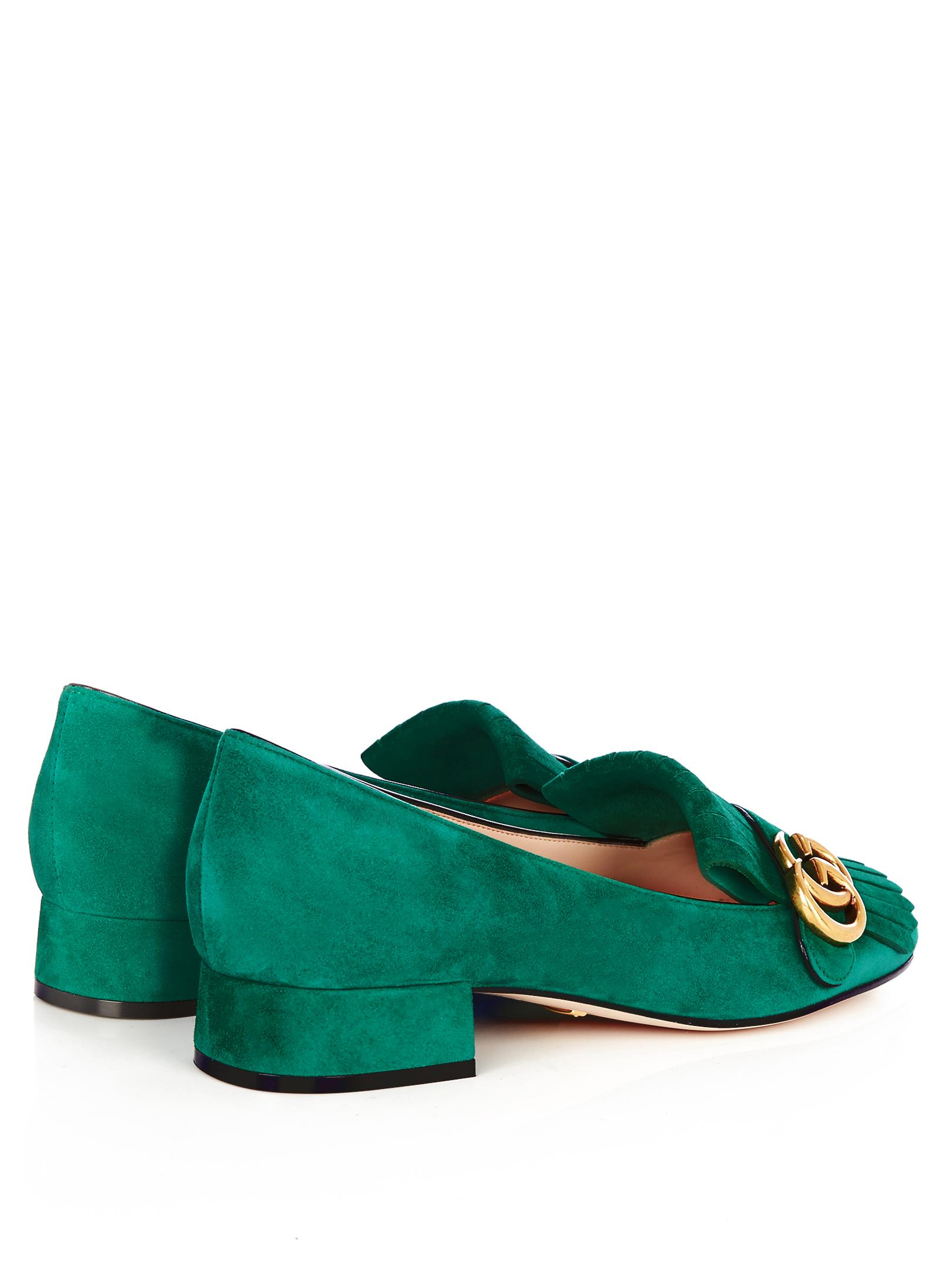 a314f10d27e Lyst - Gucci Marmont Fringed Suede Loafers in Green