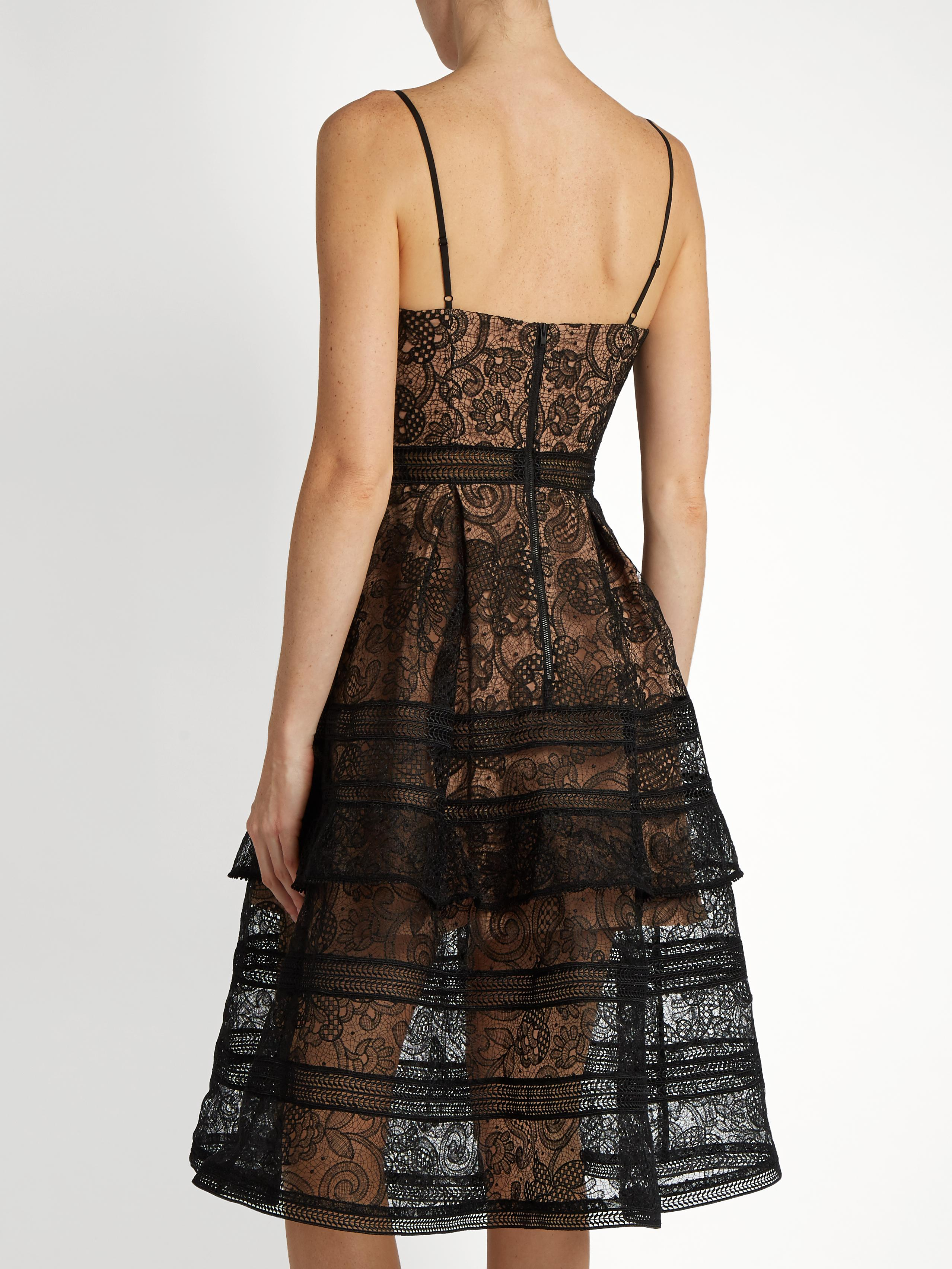 Self-Portrait Tiered Paneled Guipure Lace Dress In Black -9839