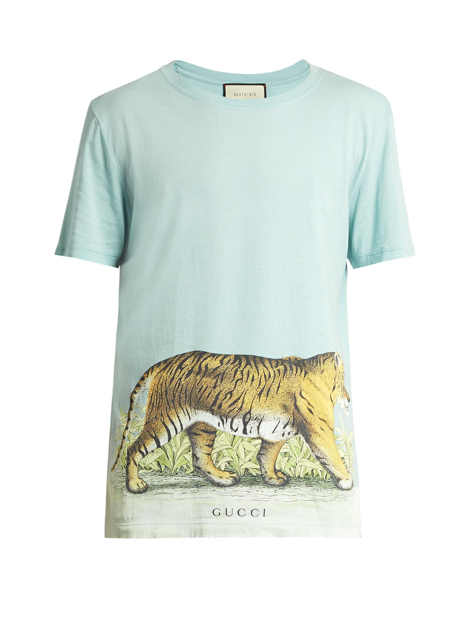 ef4c9be9 Gucci Walking Tiger-print Short-sleeved Cotton T-shirt in Blue for ...