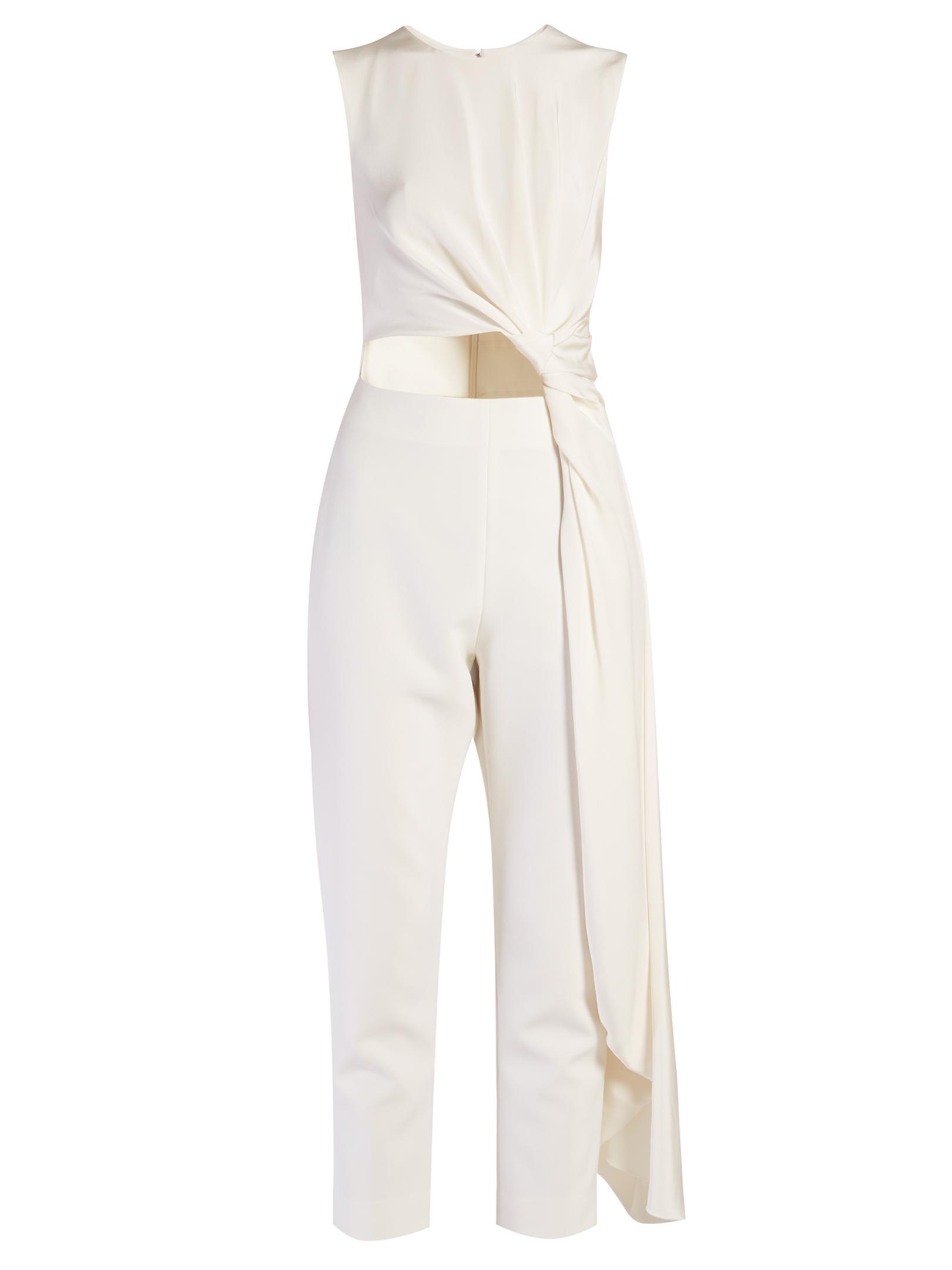 a2d5a4922f7 Lyst - ROKSANDA Thurloe Cut-out Knot-front Crepe Jumpsuit in White