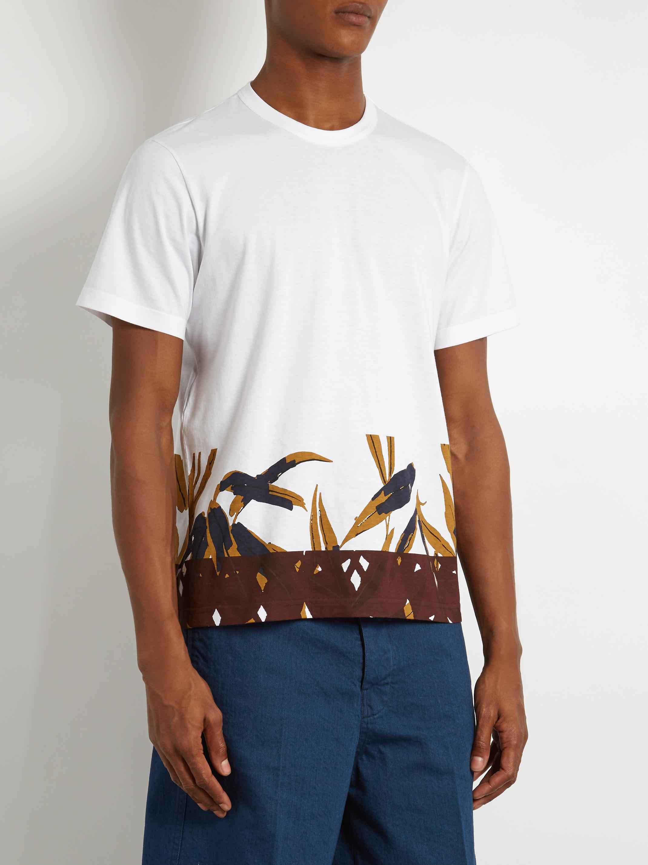 Marni bamboo print cotton jersey t shirt in white for men for Bamboo t shirt printing