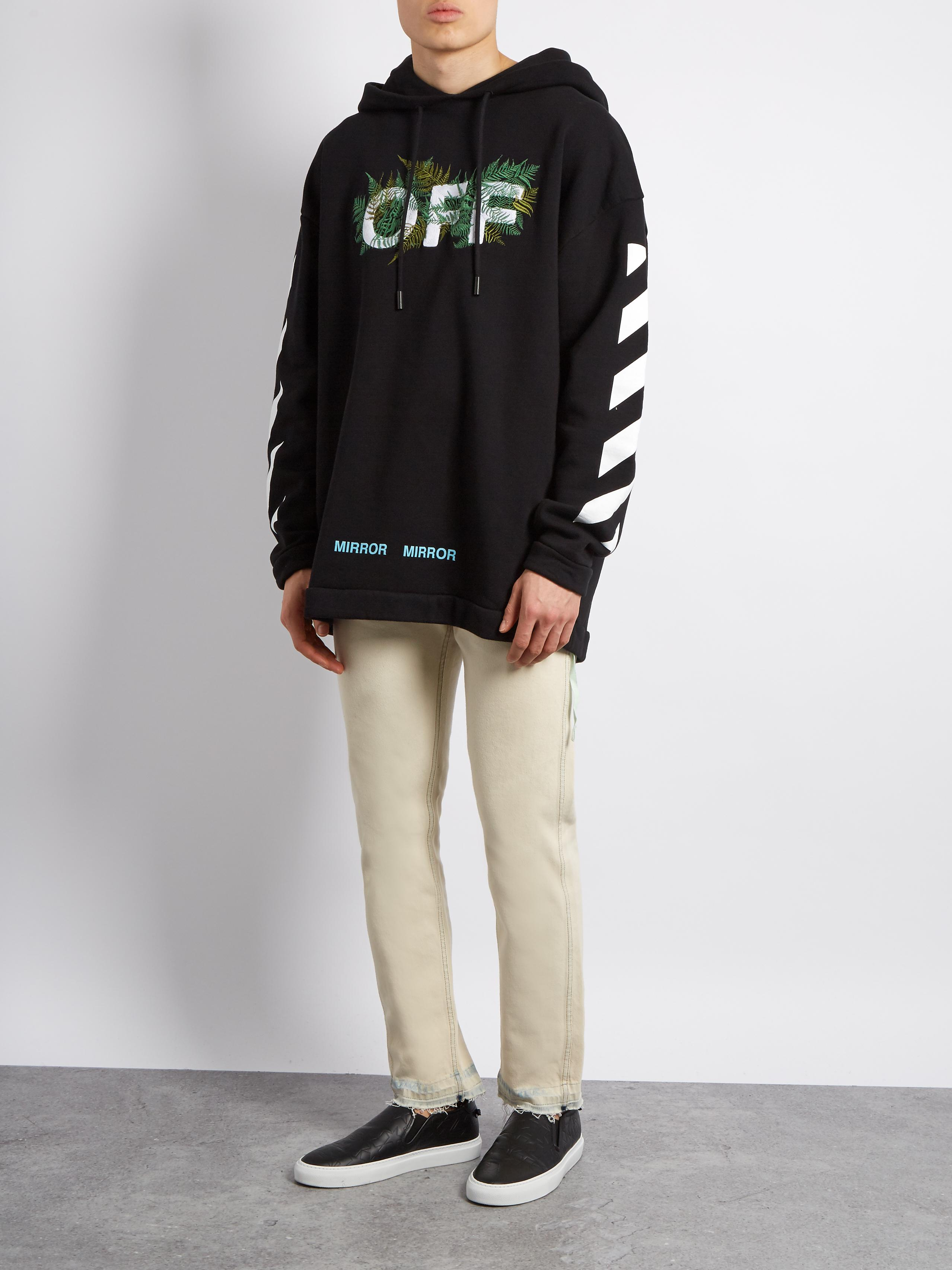Off White C O Virgil Abloh Hooded Fern Embroidered Cotton