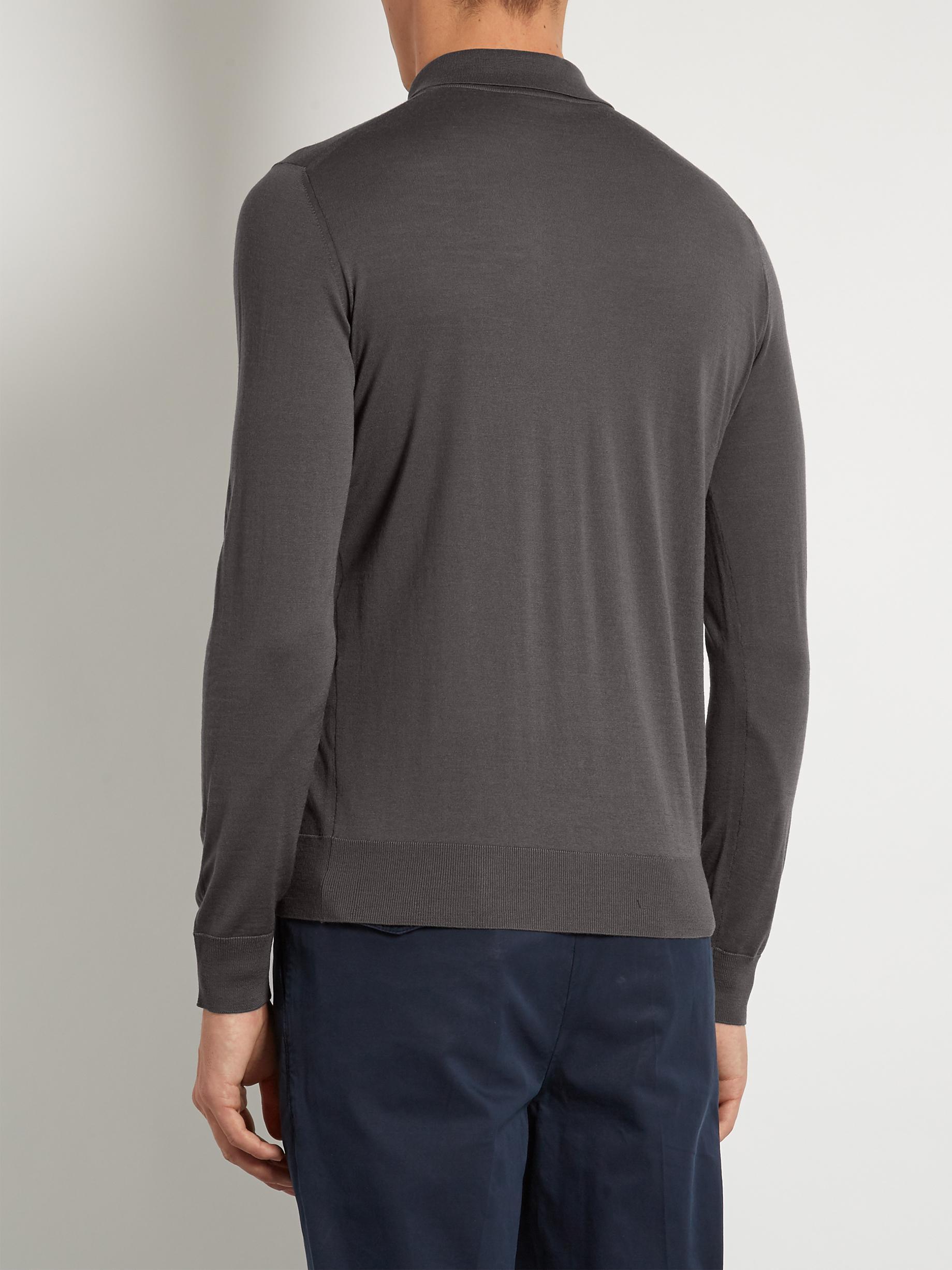 Giorgio armani long sleeved wool polo shirt in gray for for Long sleeve wool polo shirts