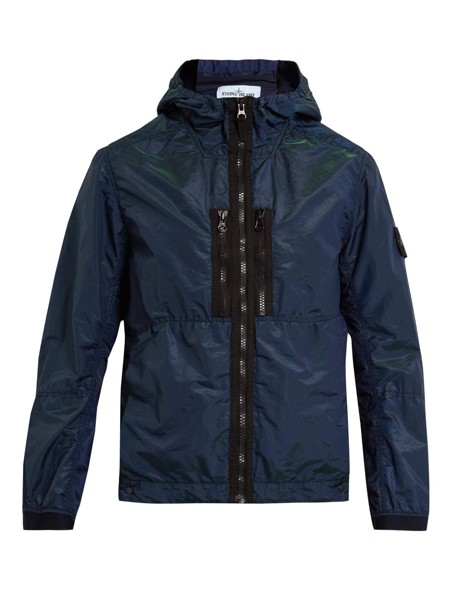 1a71e32c8 Stone Island Logo-patch Shell Jacket in Blue for Men - Lyst