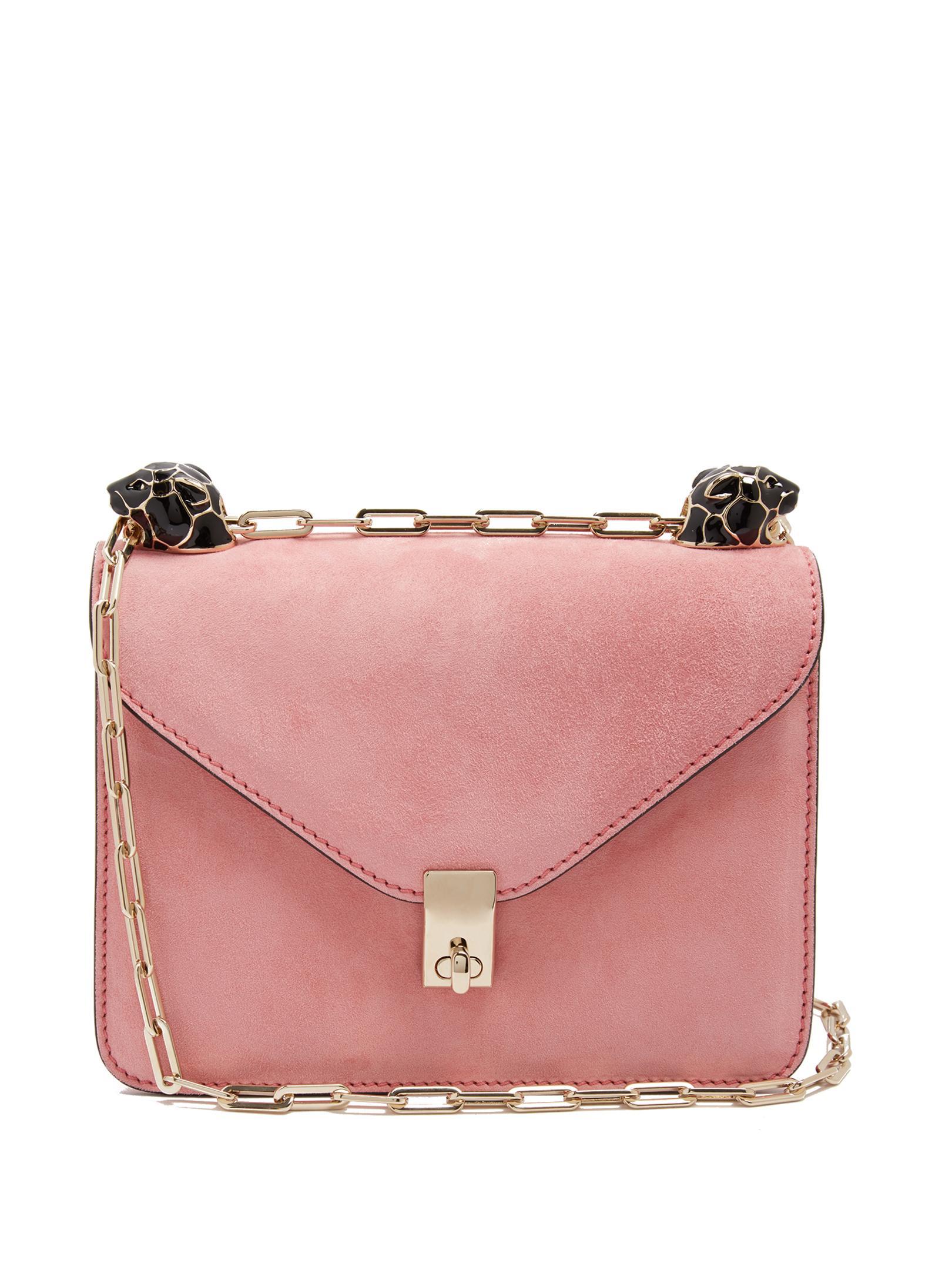 cd8e1f54f55 Valentino Panther-embellished Suede Shoulder Bag in Pink - Lyst