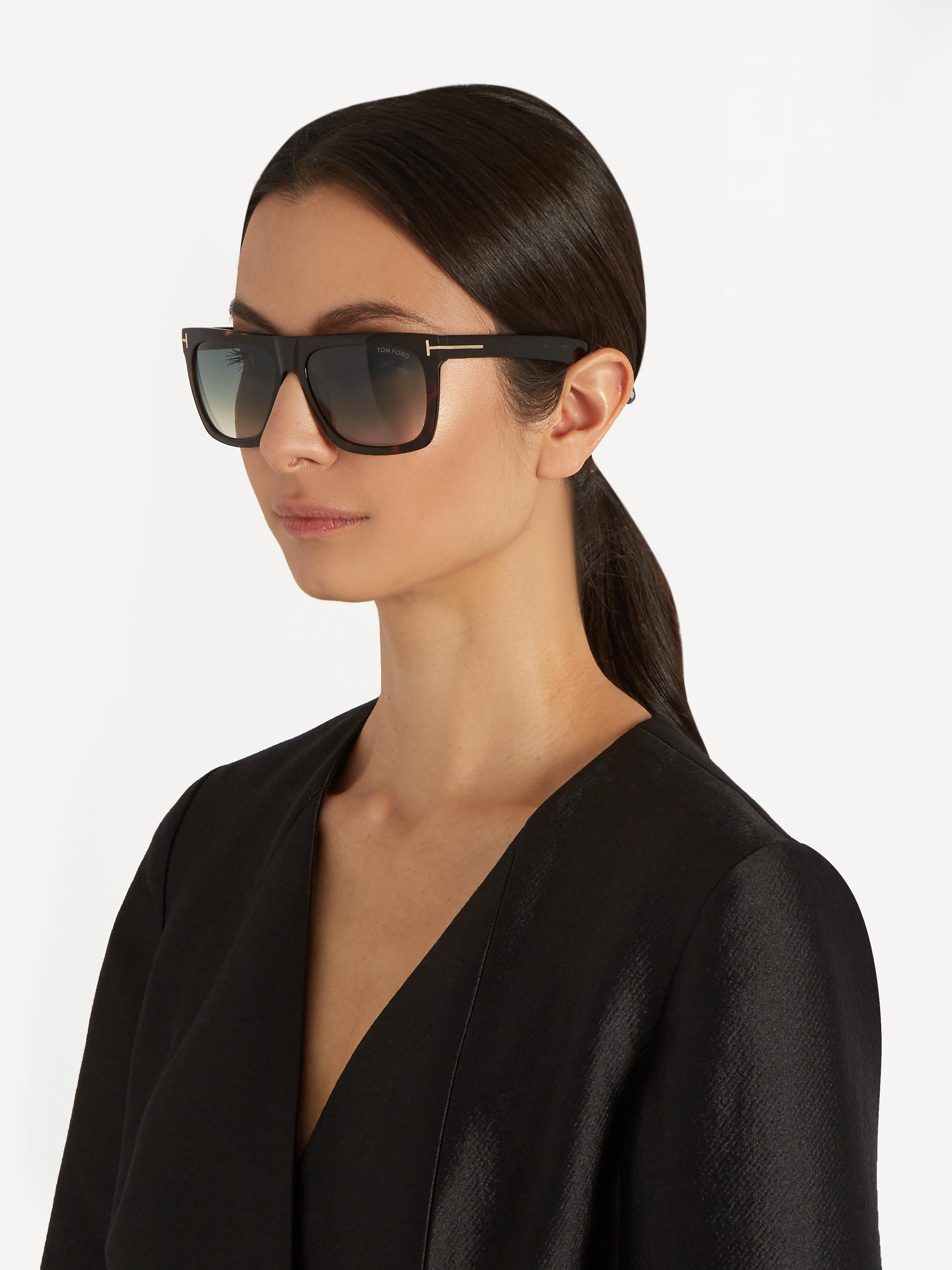 90a64d1024 Lyst - Tom Ford Morgan Flat-top Sunglasses in Brown