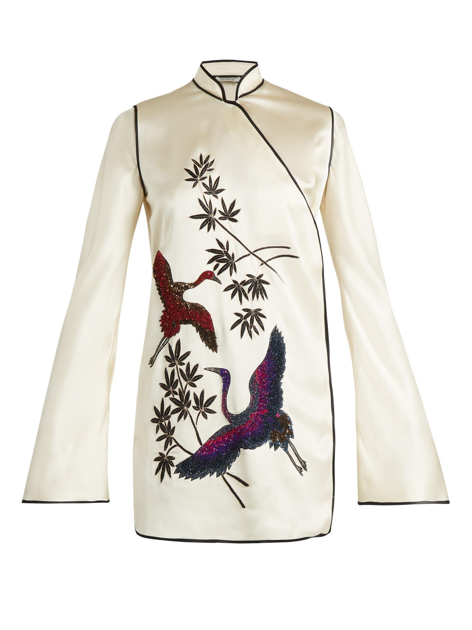 Lyst Attico Elena Heron Embellished Satin Kimono Mini