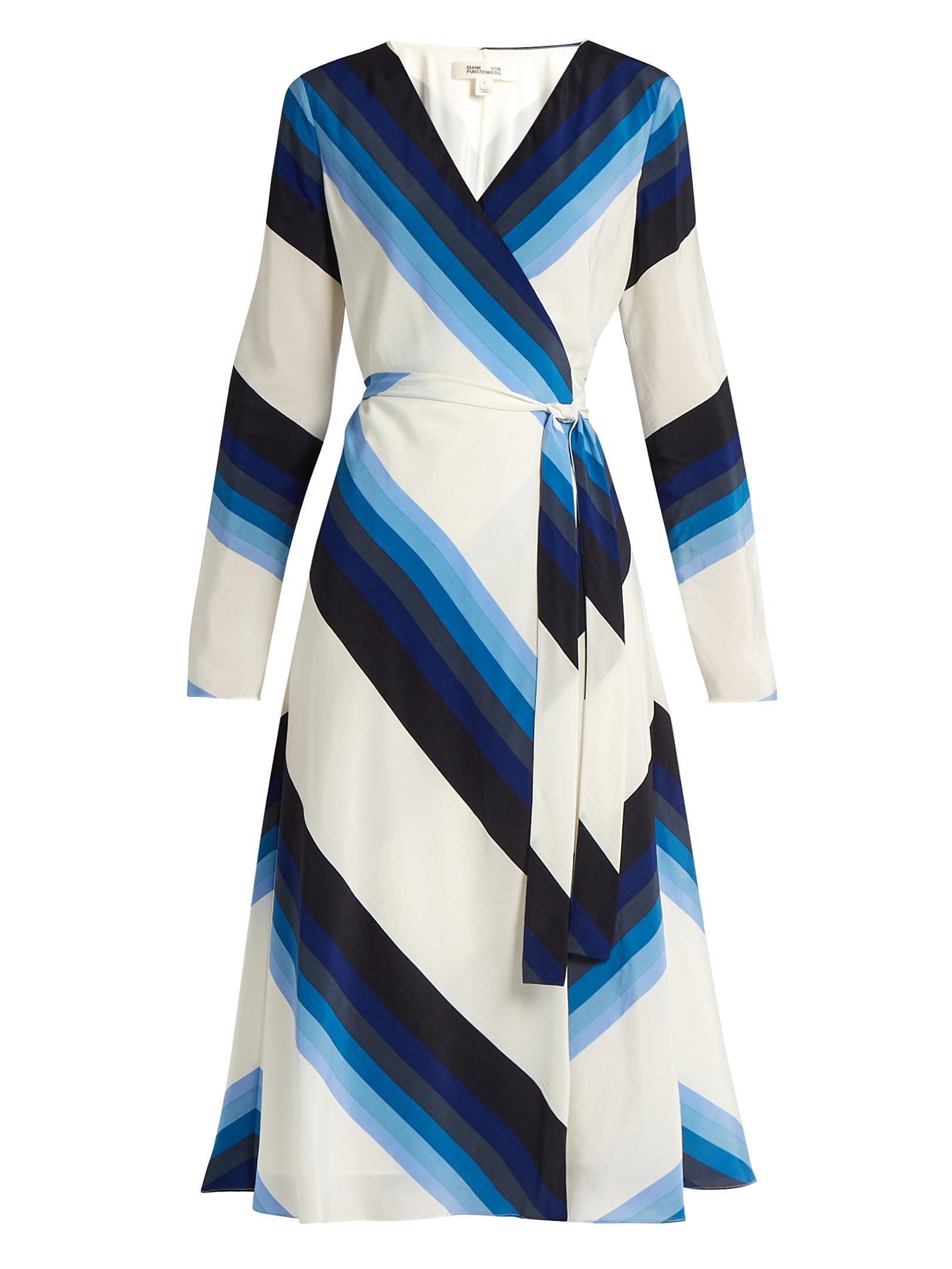 Lyst Diane Von Furstenberg V Neck Striped Silk Crepe