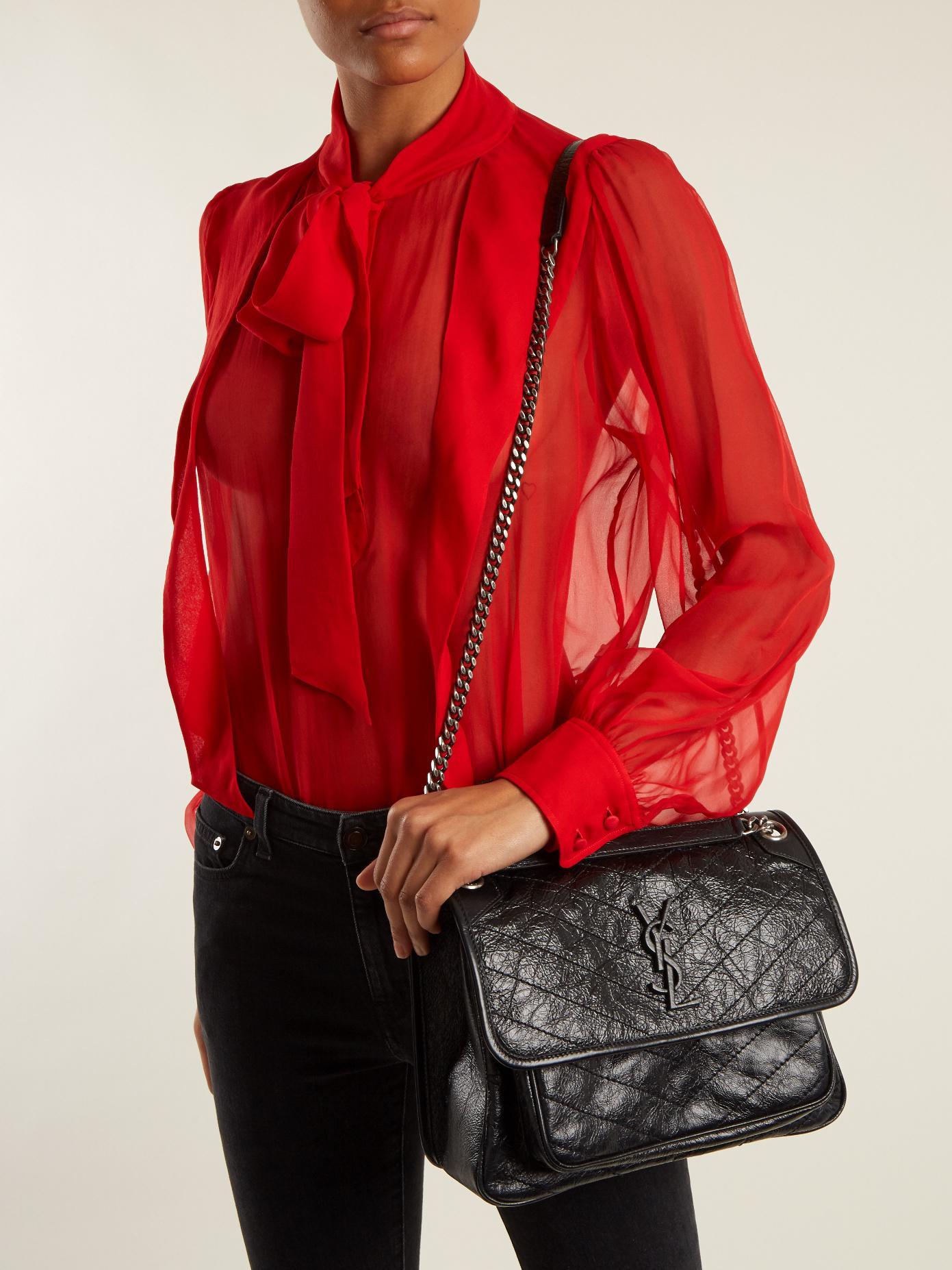 23b71f6250 Lyst - Saint Laurent Niki Medium Quilted Leather Bag in Black