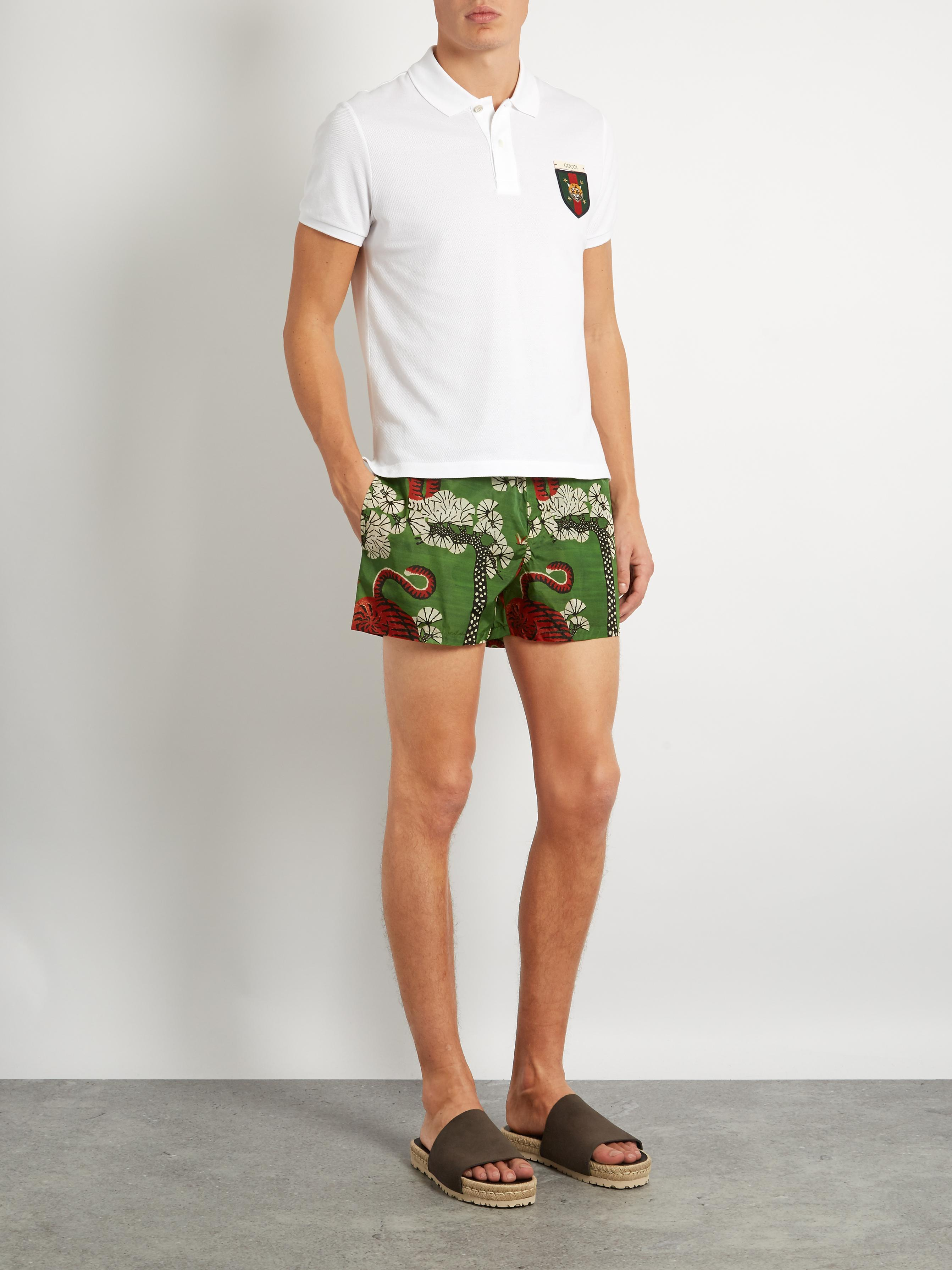 d82ecb4c5b Gucci Tiger-print Nylon Swim Shorts in Green for Men - Lyst