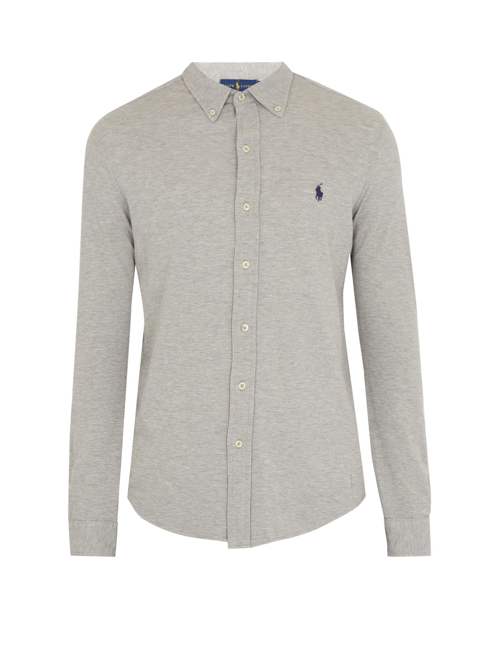 polo ralph lauren mesh knit cotton oxford shirt in gray