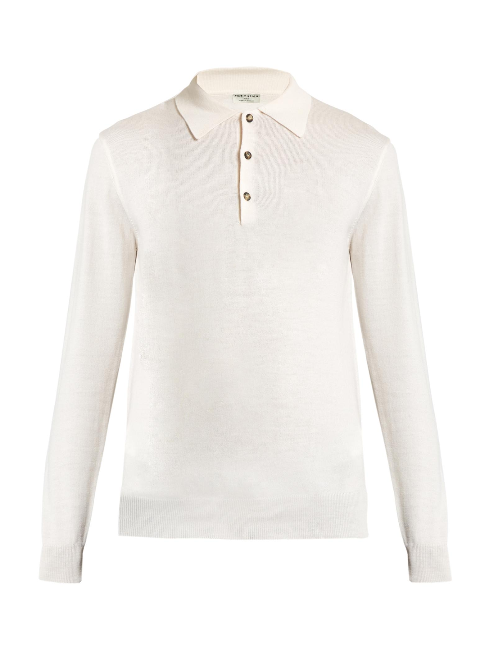Ditions mr long sleeved wool polo shirt in white for men for Long sleeve wool polo shirts