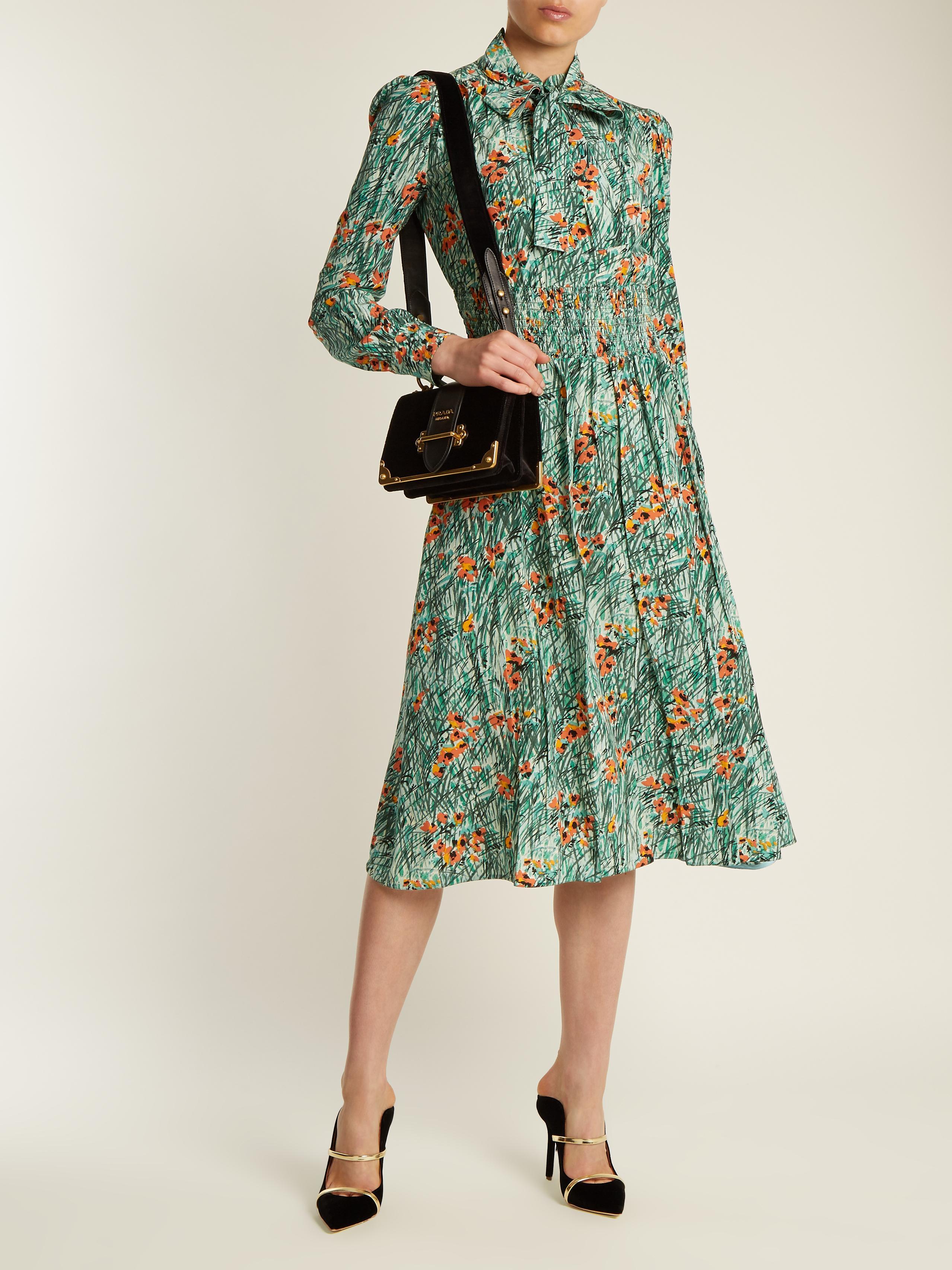 Lyst Prada Poppy Print Silk Crepe Dress In Green