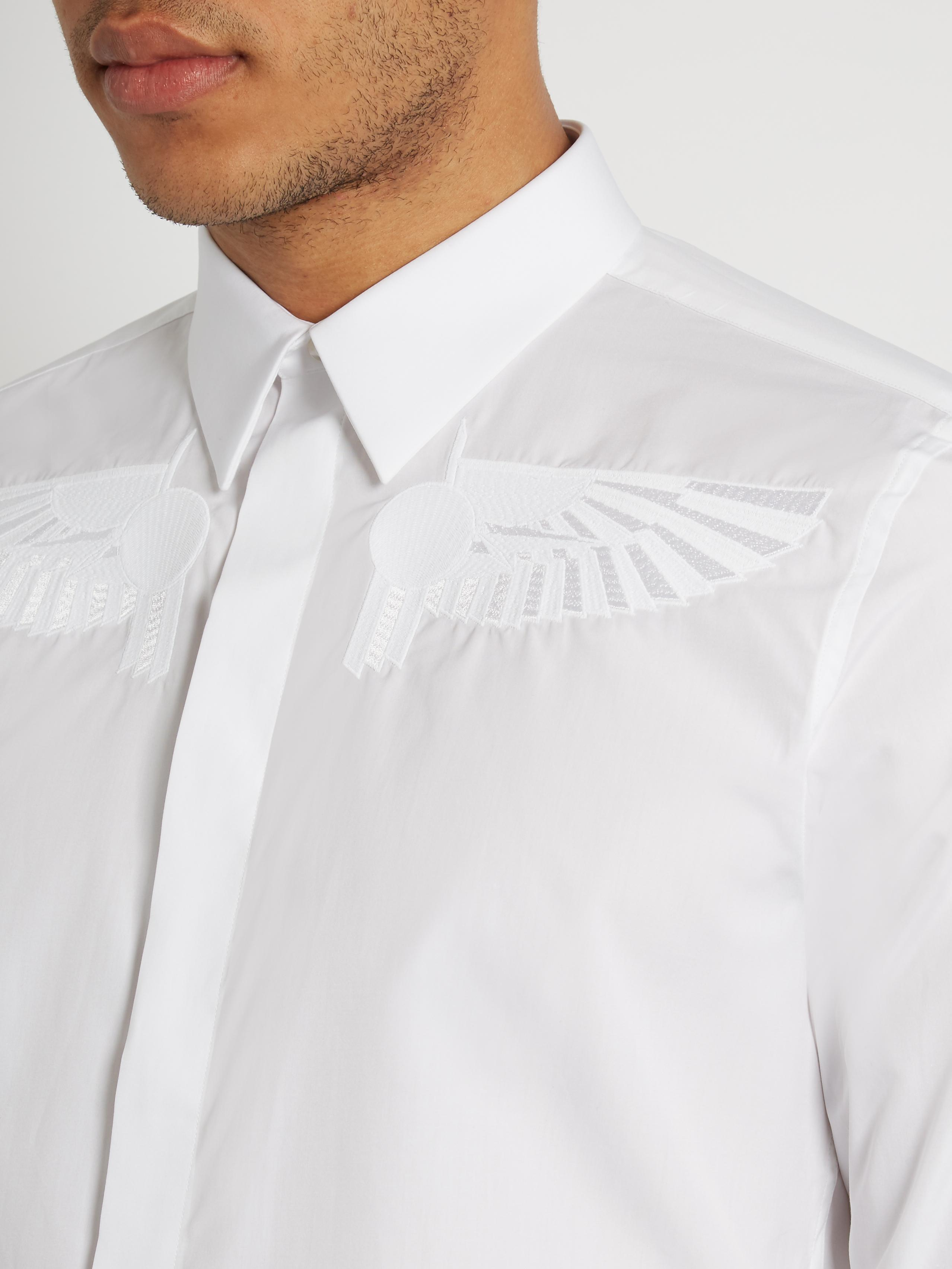Lyst givenchy wing embroidered button cuff cotton shirt