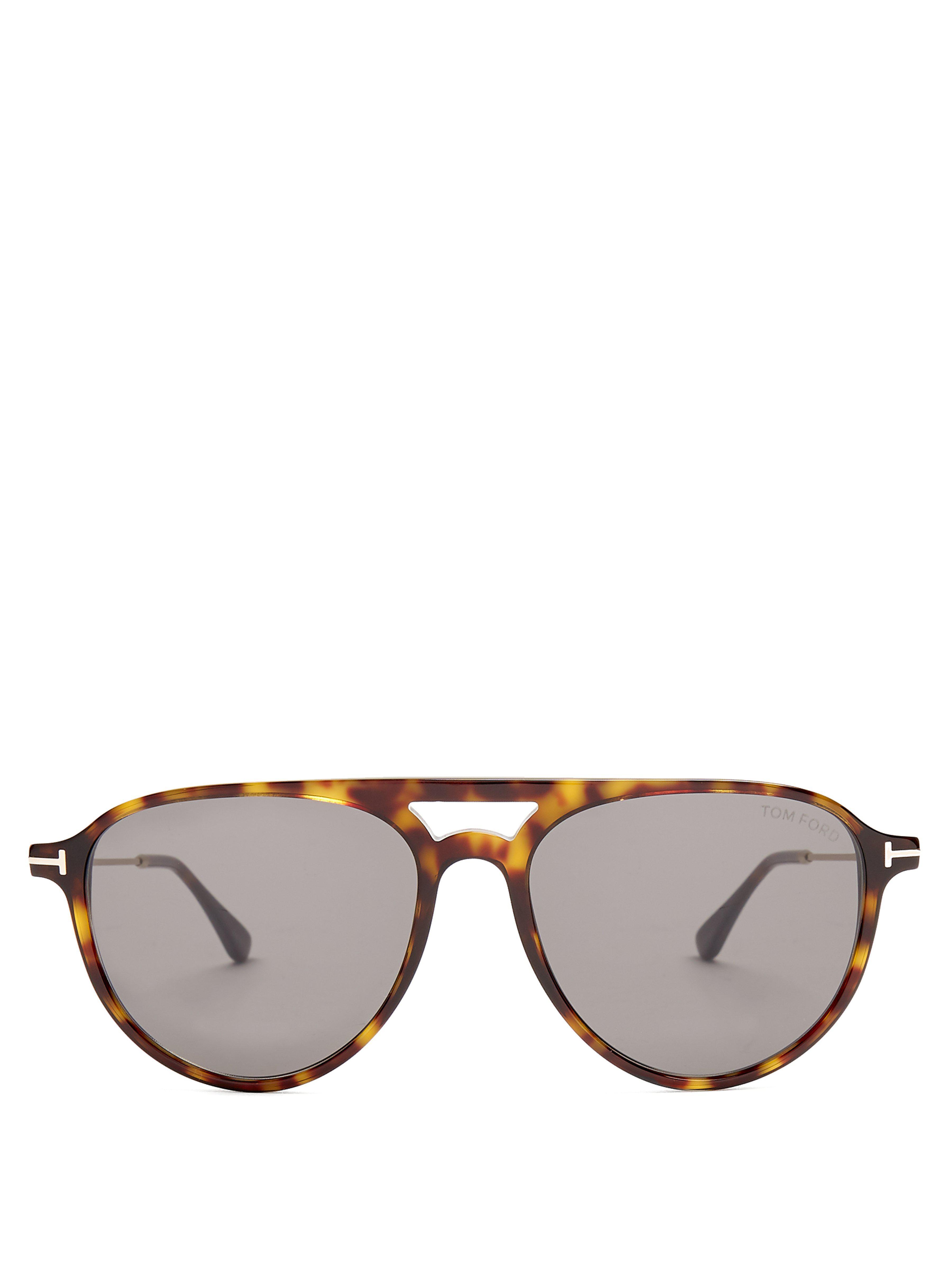 3083970251 Tom Ford - Brown Carlo Aviator Acetate Sunglasses for Men - Lyst. View  fullscreen