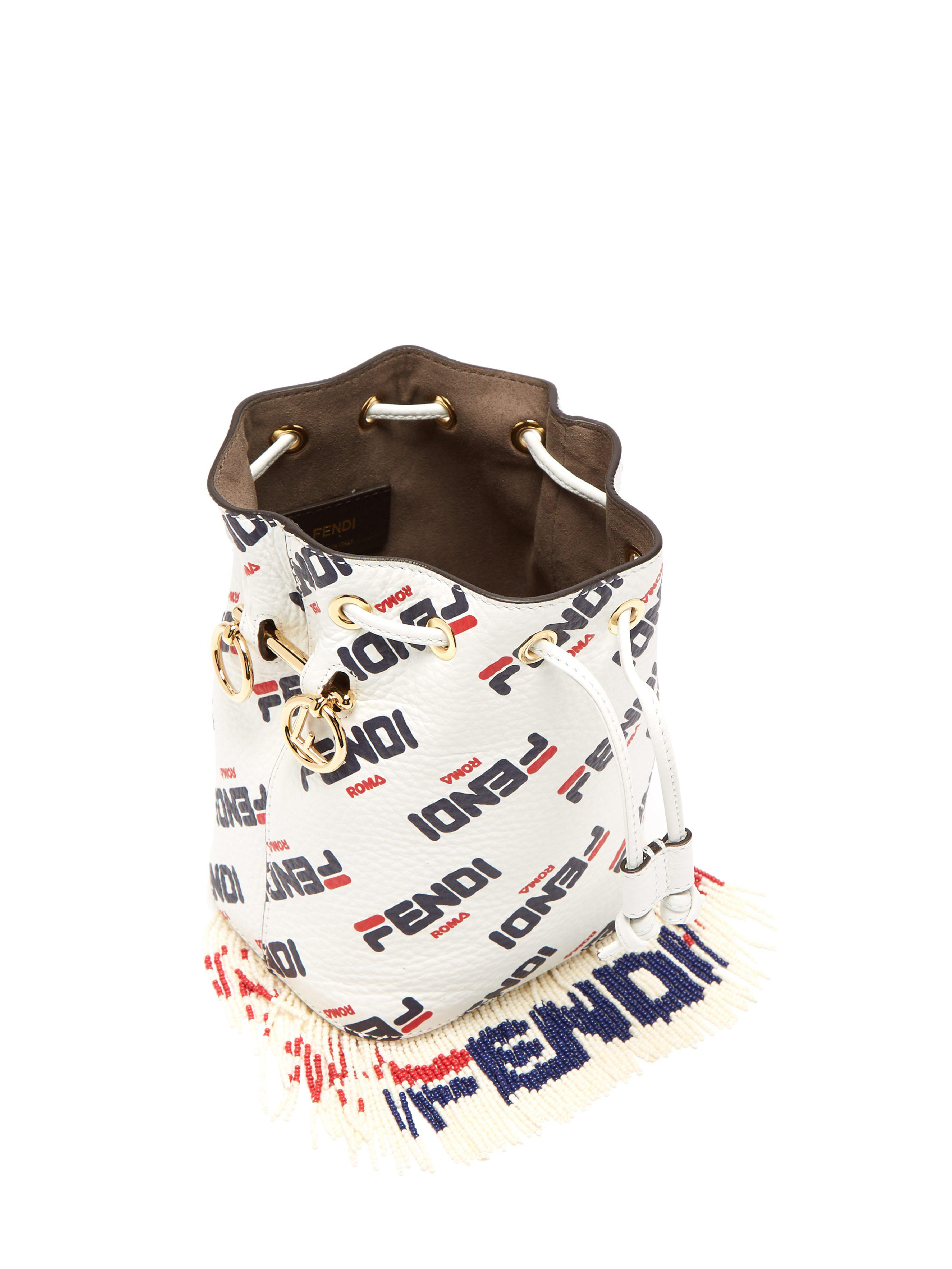 db6268347df4 Fendi - White Mania Mon Tresor Logo Leather Bucket Bag - Lyst. View  fullscreen