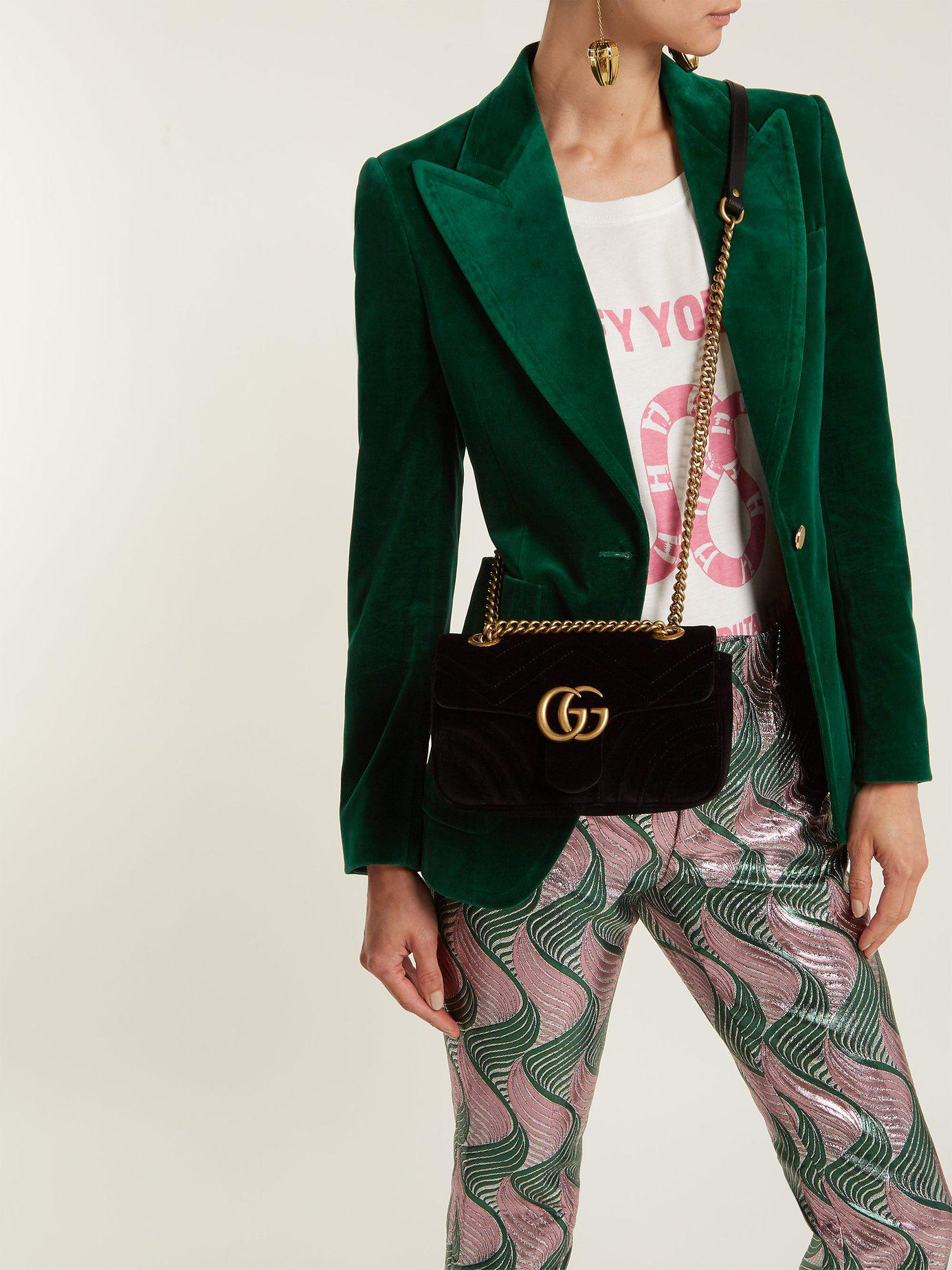 f9b4d35b4853 Lyst - Gucci Gg Marmont Mini Velvet Quilted Shoulder Bag in Black