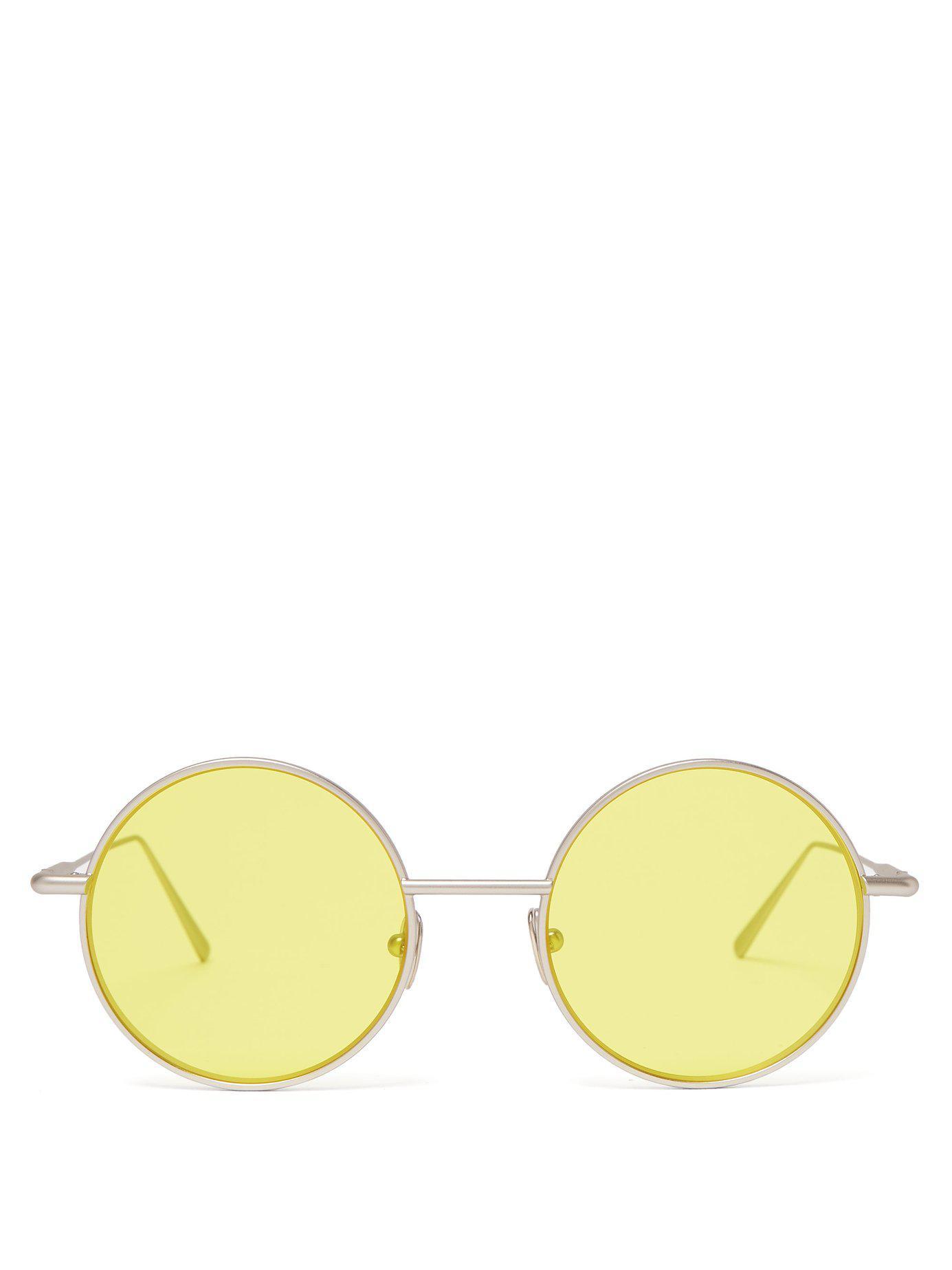 9a0555c28568 Lyst - Acne Studios Scientist Round Metal Sunglasses in Yellow