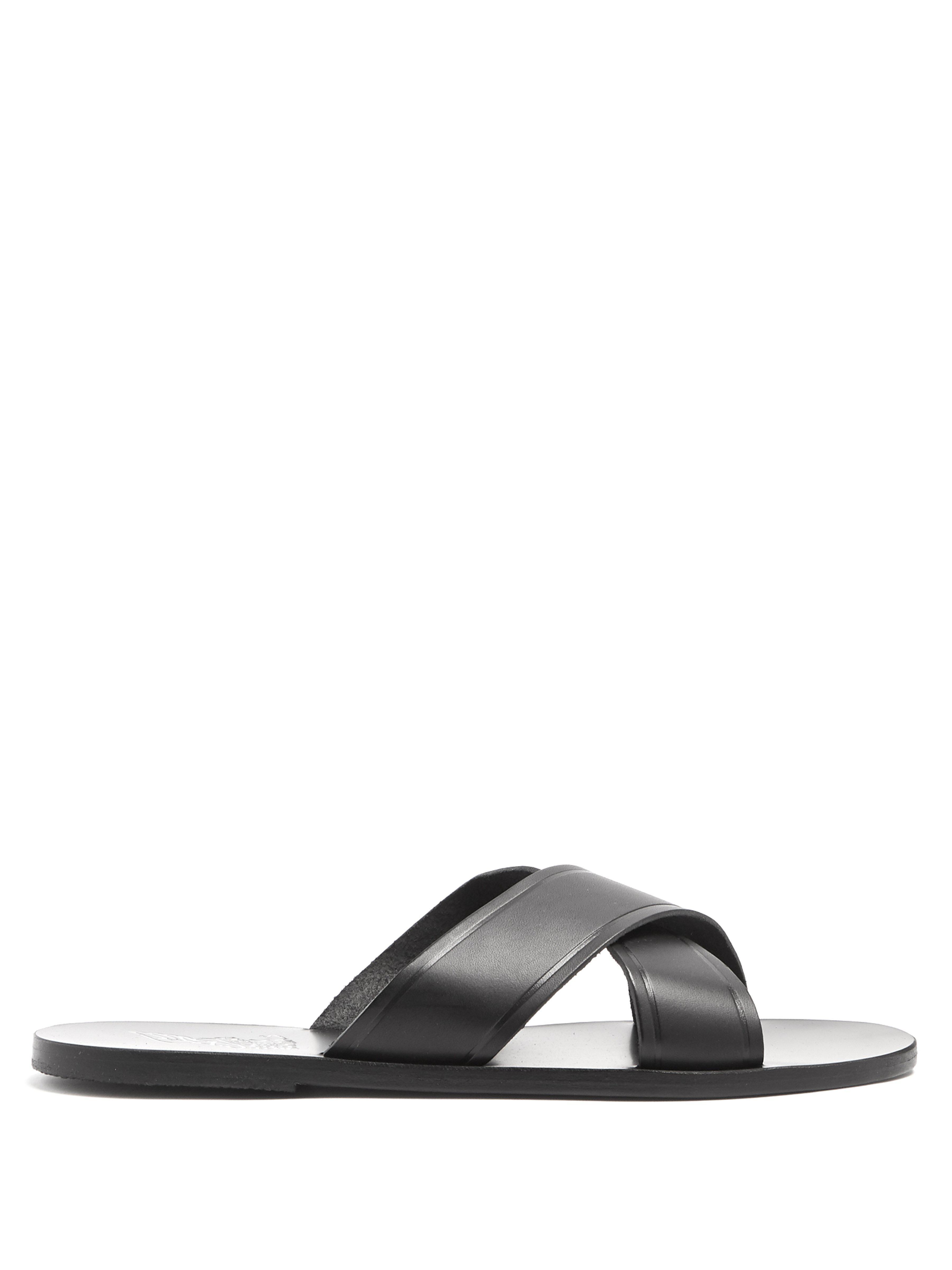 338056439 Ancient Greek Sandals. Men s Black Kritonas Cross Over Strap Leather Slides