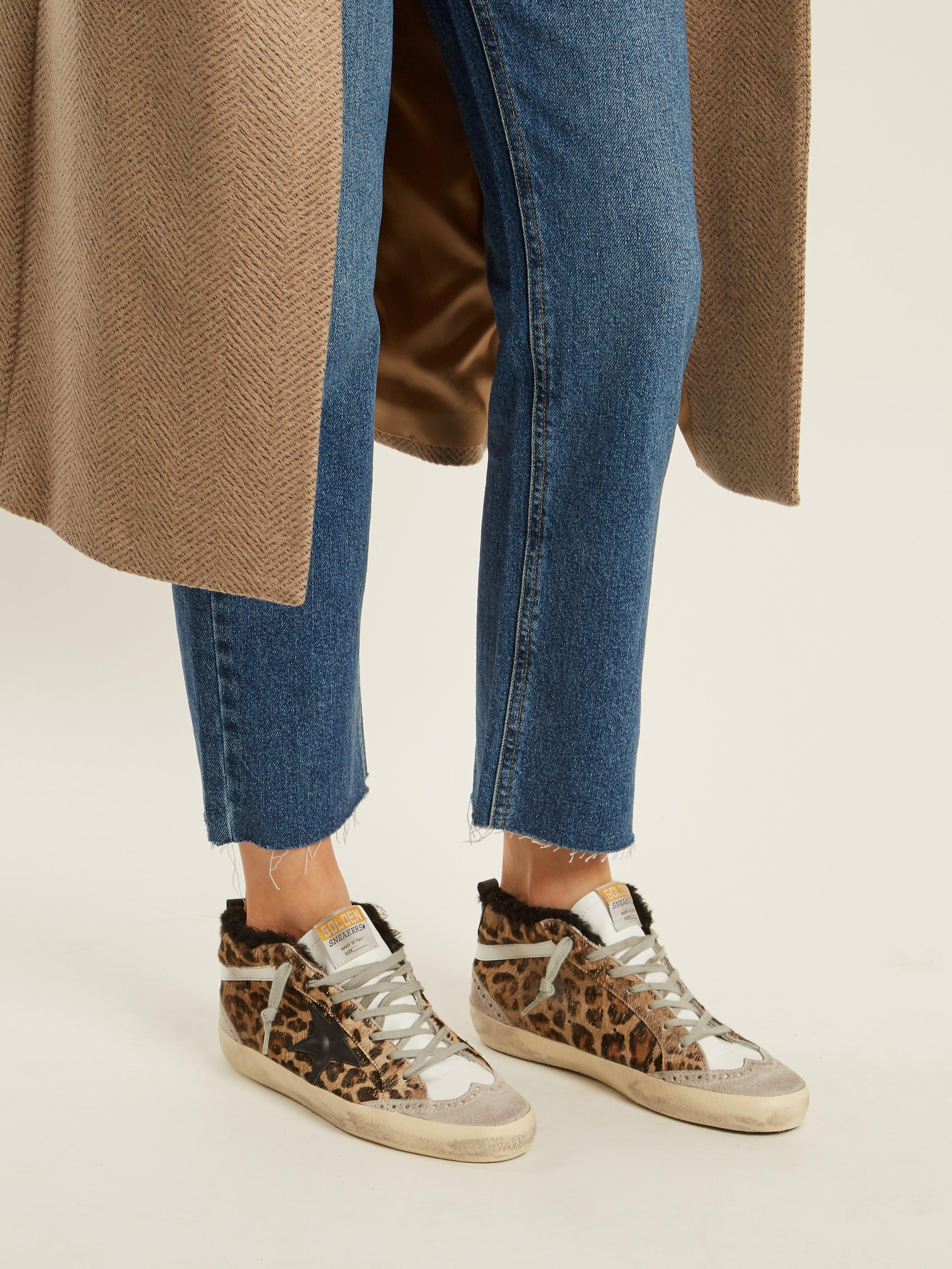 Golden Goose Deluxe Brand Mid Star Leopard Print Shearling