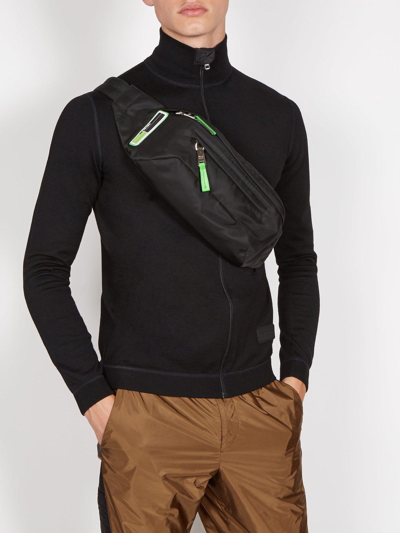 Prada - Black Logo Nylon Belt Bag for Men - Lyst. View fullscreen 11627e1d9927b
