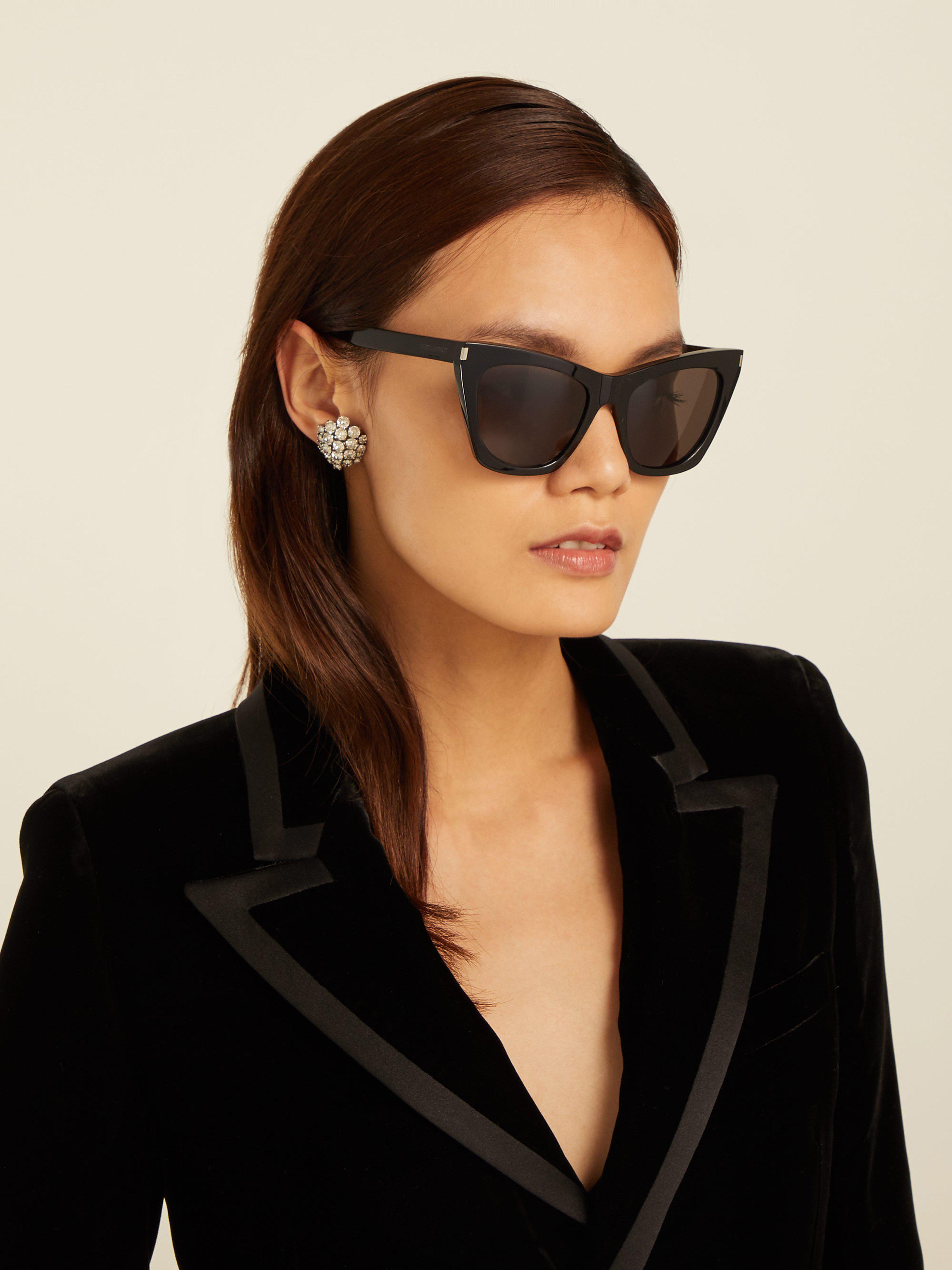7cb0f9b3649 Saint Laurent Kate Cat Eye Acetate Sunglasses in Black - Lyst
