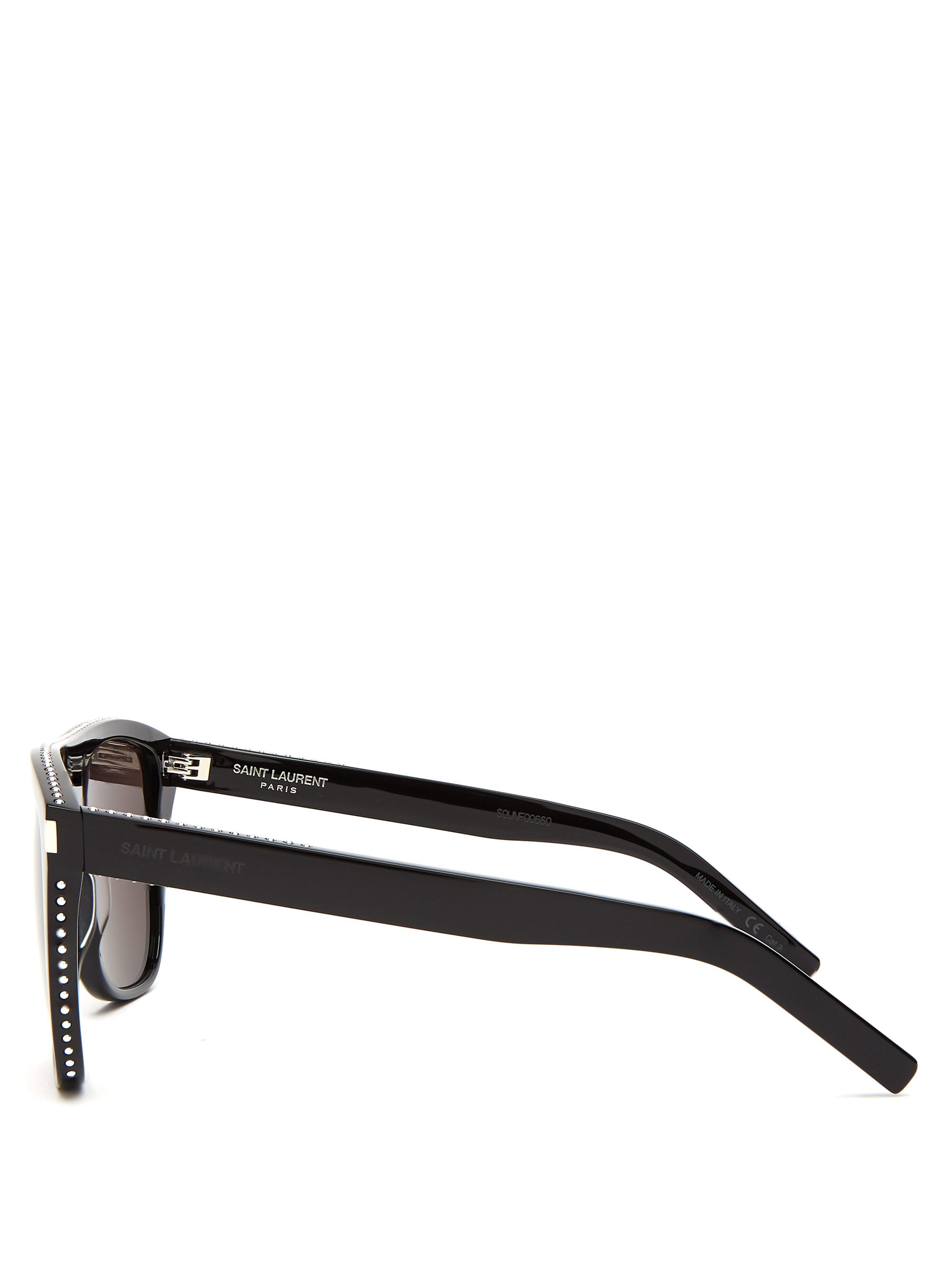 55ec8d76f225 Saint Laurent - Black D Frame Studded Acetate Sunglasses for Men - Lyst.  View fullscreen