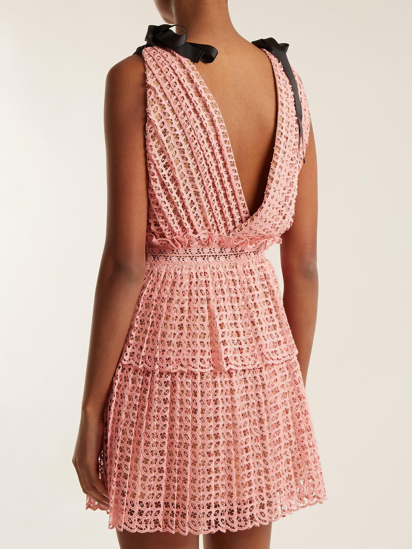 747b6db20841d Self-Portrait Sleeveless Organza Cutwork Mini Dress in Pink - Lyst