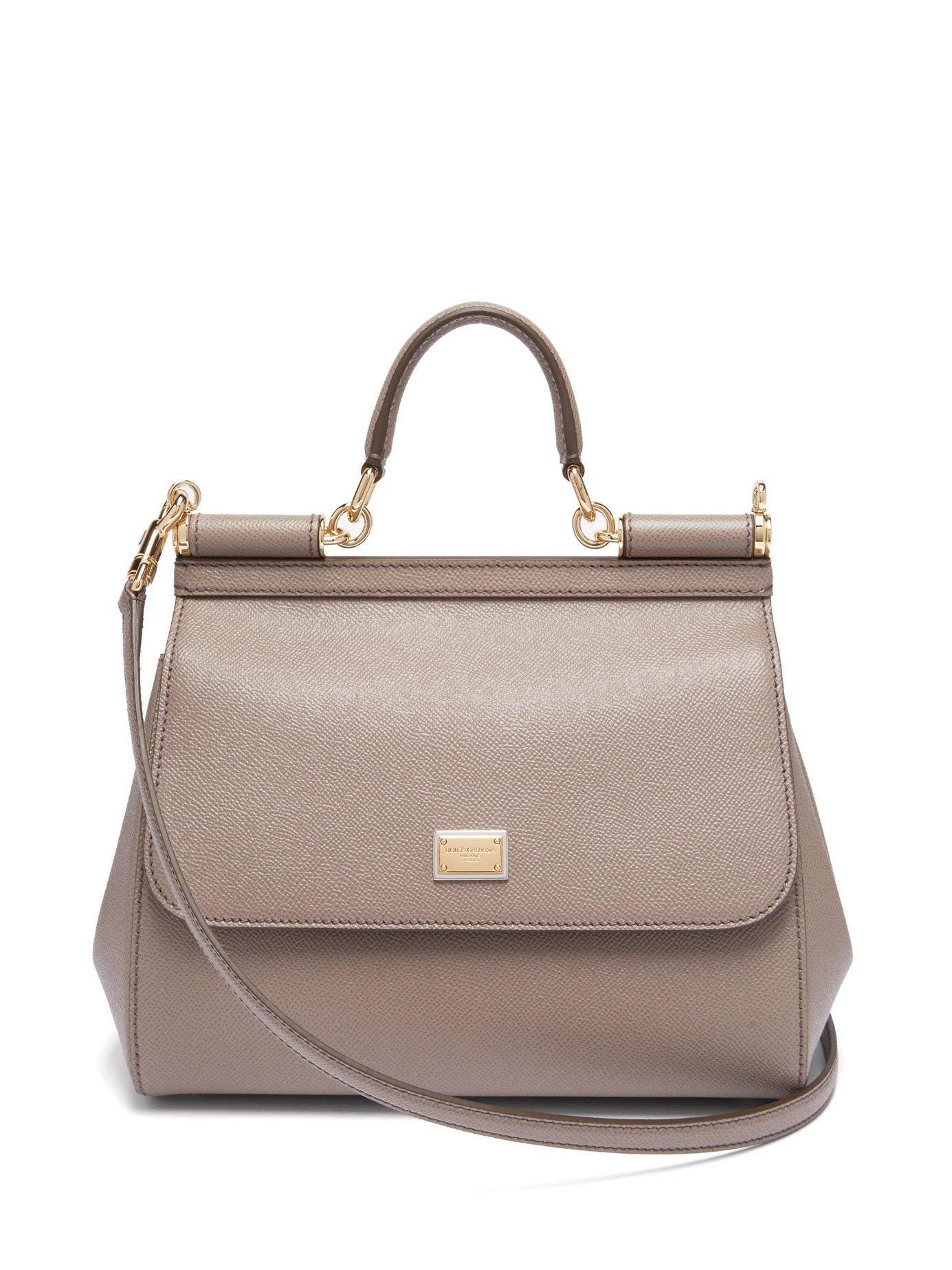 3304cb9d9b48 Lyst - Dolce   Gabbana Sicily Medium Dauphine Leather Bag in Gray