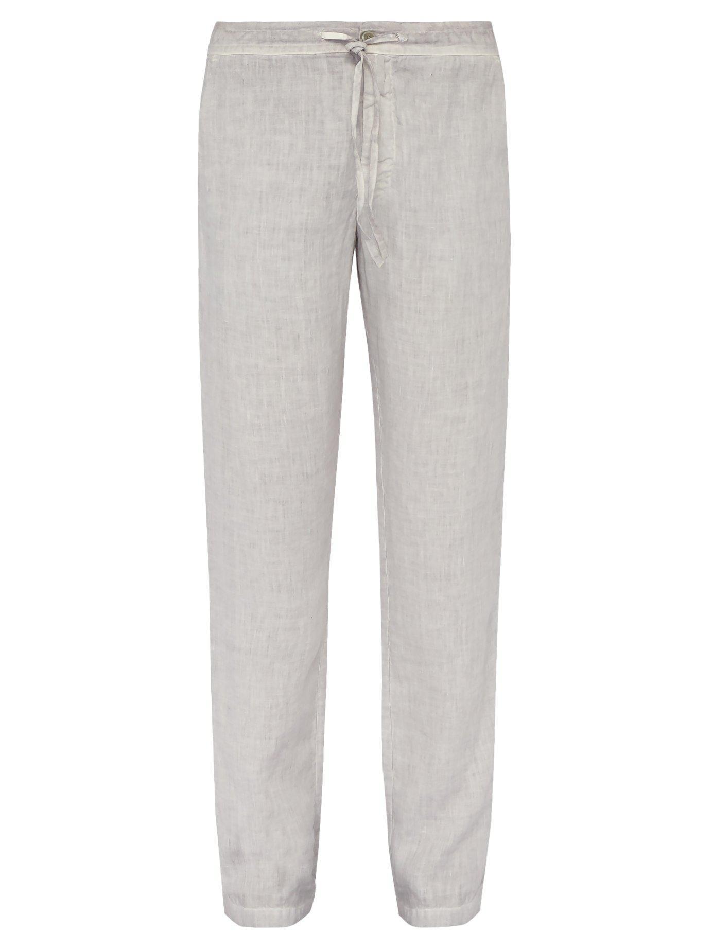 ec9757667f Lyst - 120% Lino Wide Leg Linen Trousers in Gray for Men