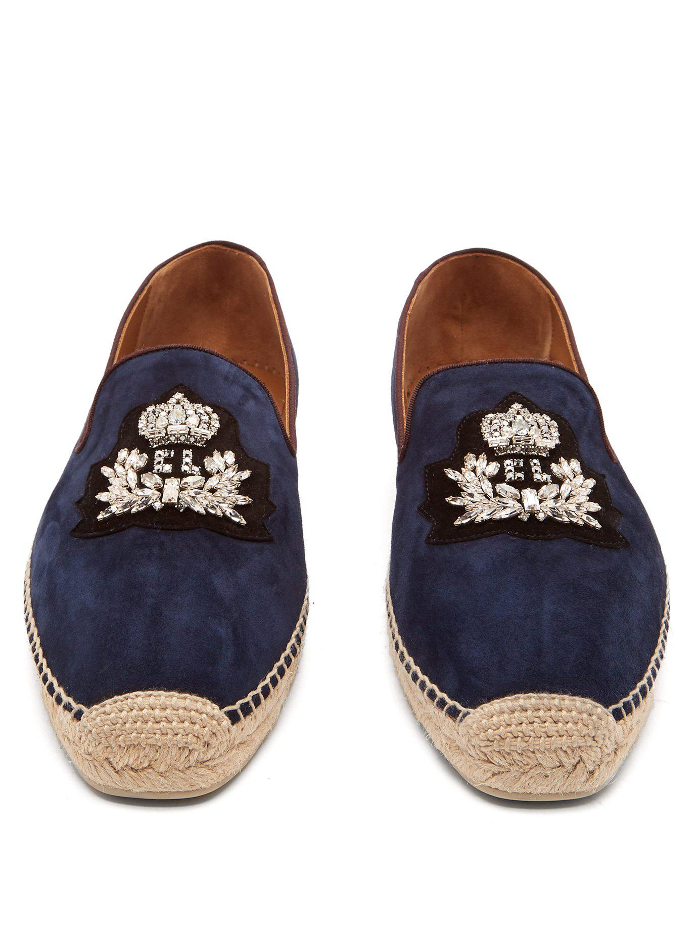 30cbc1a84 Christian Louboutin - Blue Nanou Zardozi Crest Suede Espadrilles for Men -  Lyst. View fullscreen