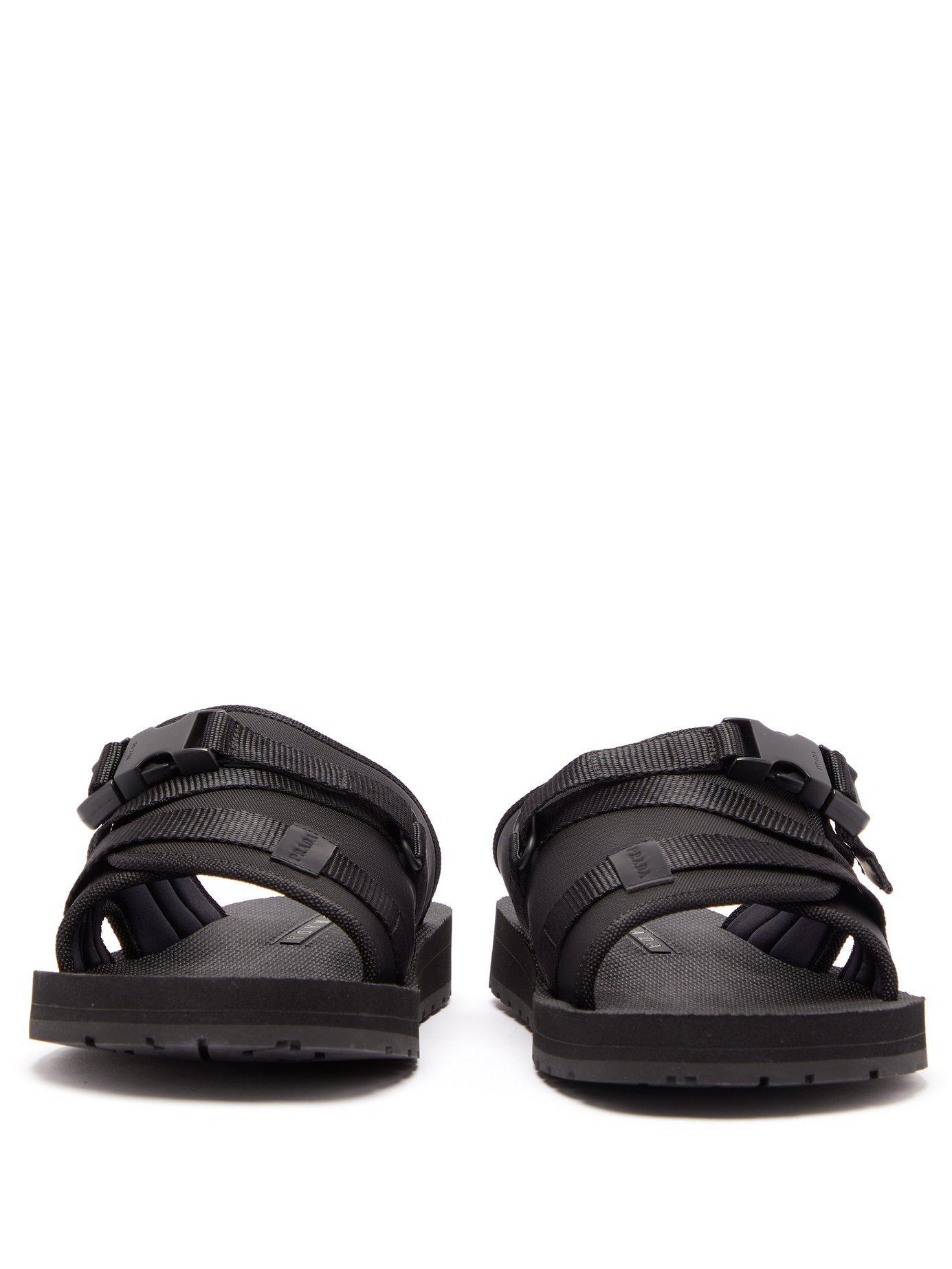 192bcbd5ef7c Prada - Black Buckle Open-toe Sandals for Men - Lyst. View fullscreen