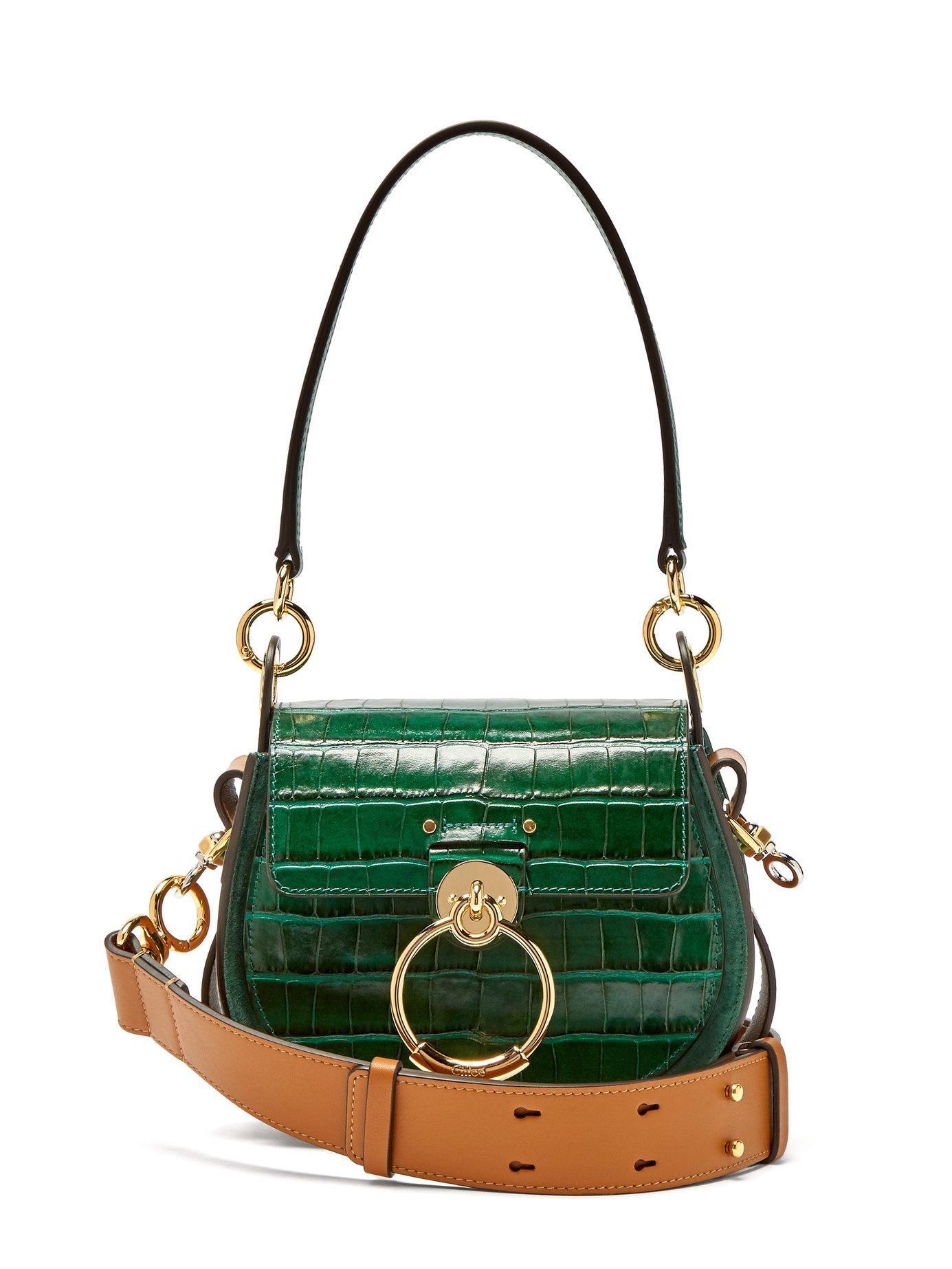 15958f4bf593 Chloé - Green Tess Small Crocodile Effect Leather Cross Body Bag - Lyst.  View fullscreen