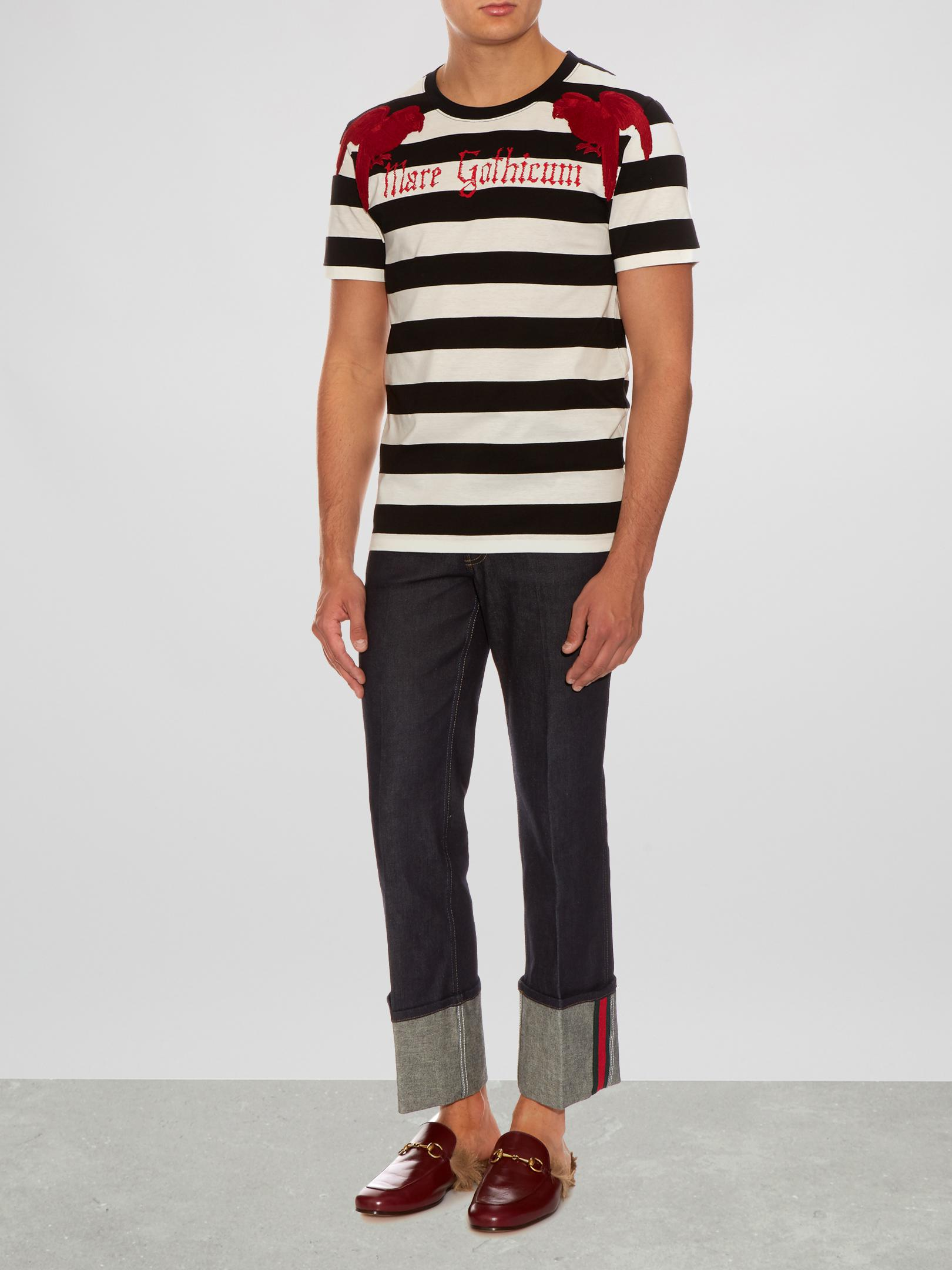 5589c1fcb Gucci Parrot-appliqué Striped Cotton T-shirt in Black for Men - Lyst