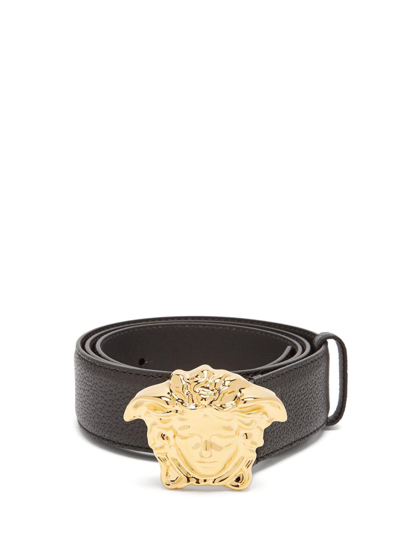 7209e810797d5 Lyst - Versace Medusa Buckle Leather Belt in Black for Men - Save 20%