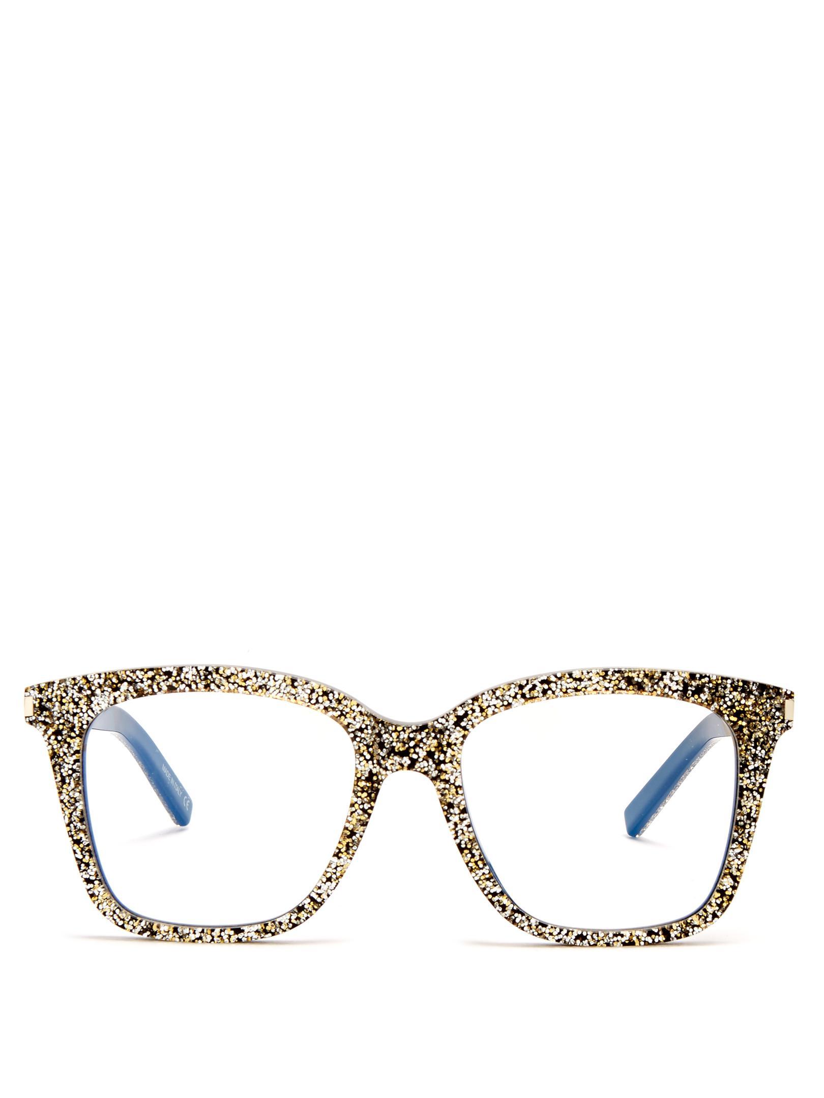 Lyst - Saint Laurent D-frame Glitter-acetate Glasses in Metallic