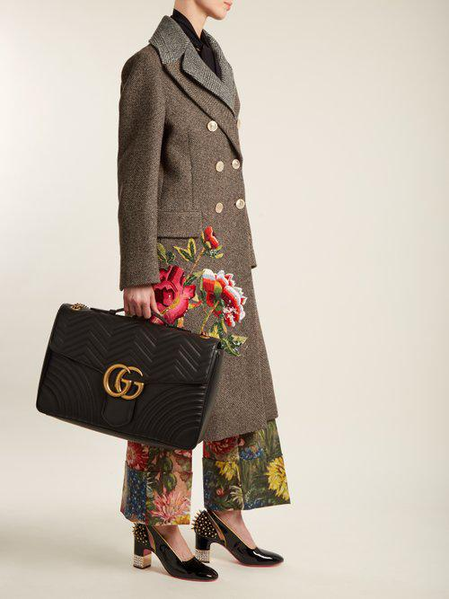 115ebbffae9 Gucci Gg Marmont Maxi Quilted-leather Shoulder Bag in Black - Lyst