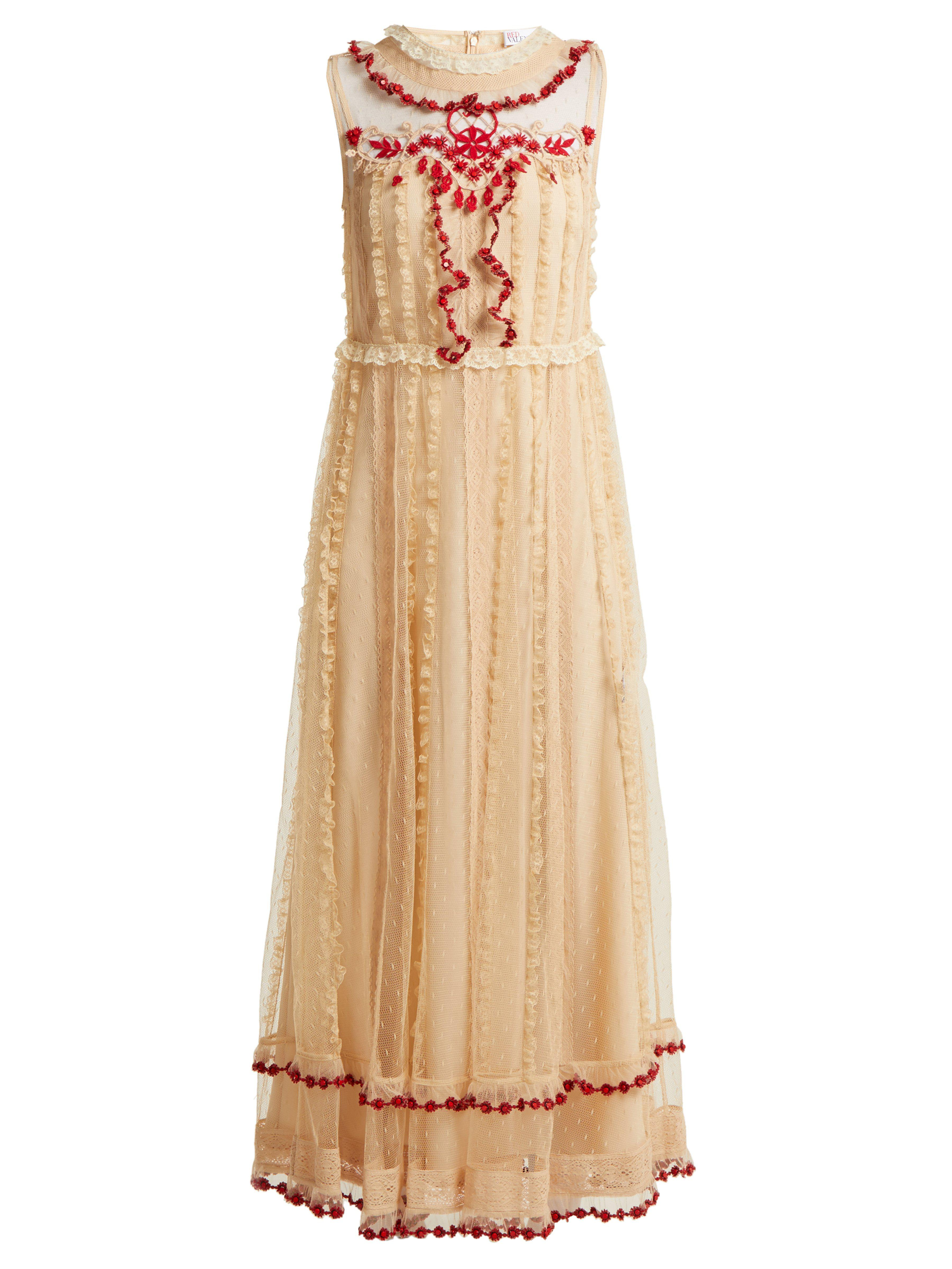 39878d5782c RED Valentino Ruffle Trimmed Lace Dress in White - Save 3% - Lyst