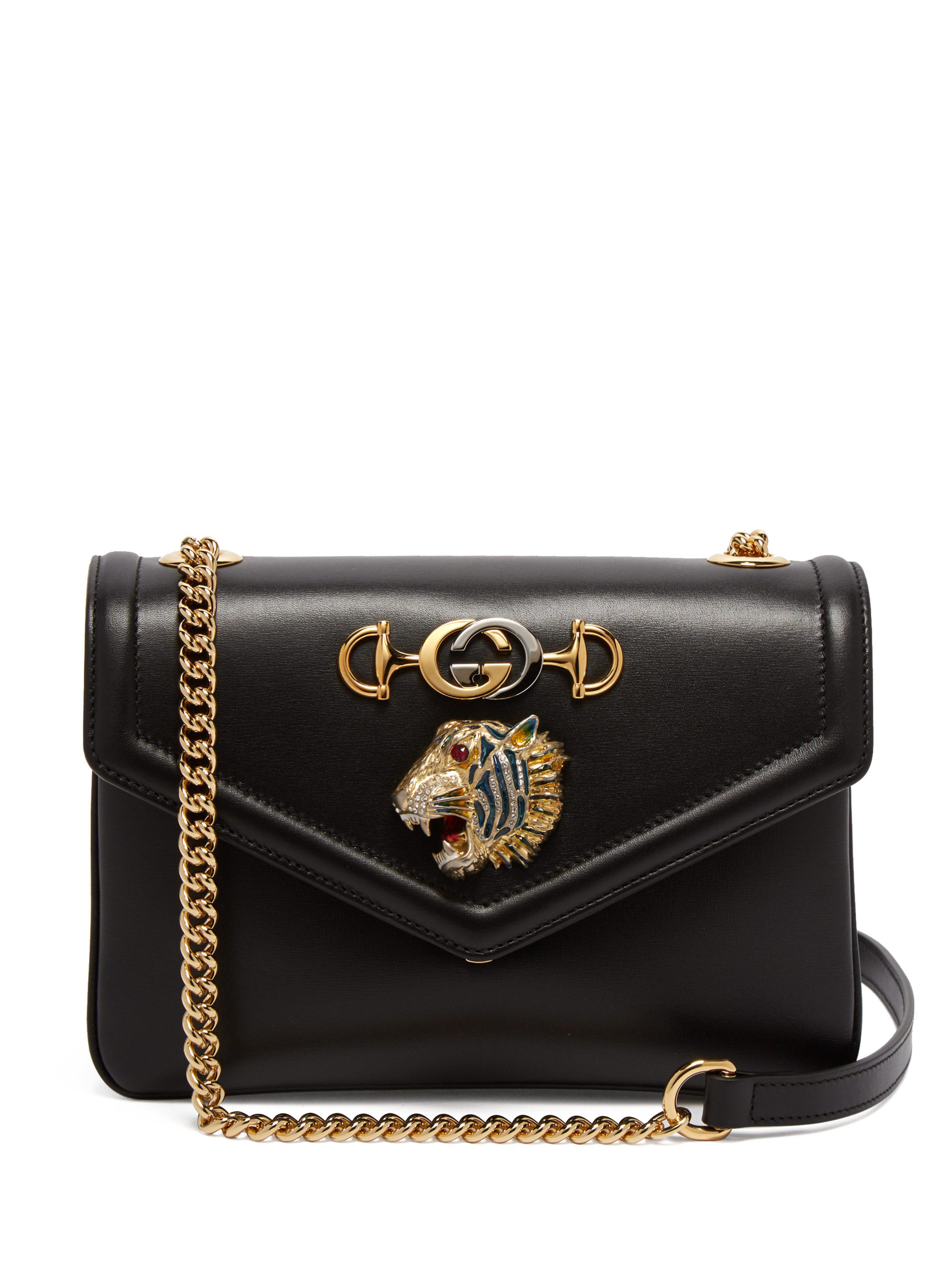 c18512b1f Gucci Small Tiger Leather Bag in Black - Save 21% - Lyst