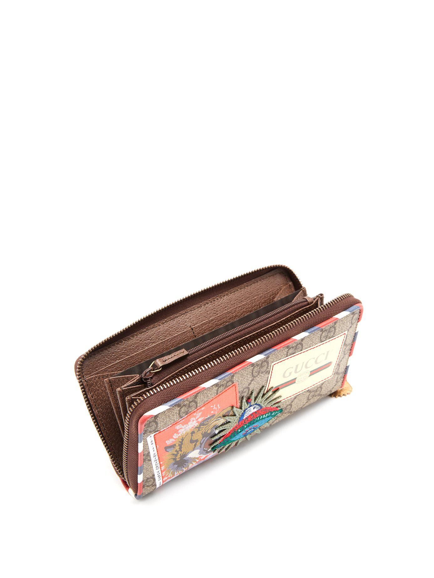 5a467986f02a Gucci - Brown Courrier Gg Supreme Zip-around Wallet for Men - Lyst. View  fullscreen