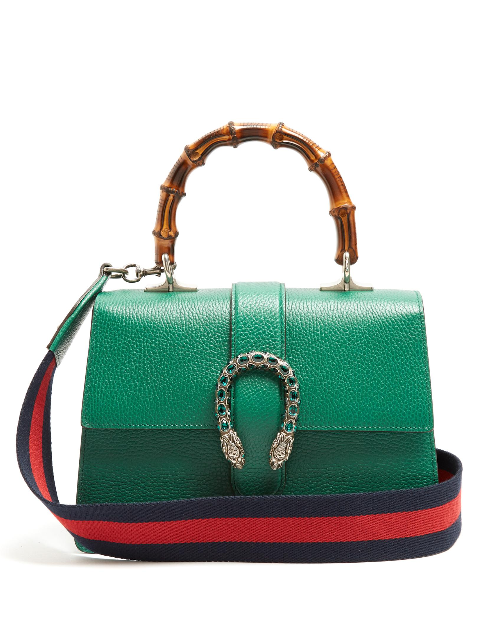 58407831ed9 Lyst - Gucci Dionysus Bamboo-handle Medium Leather Tote in Green
