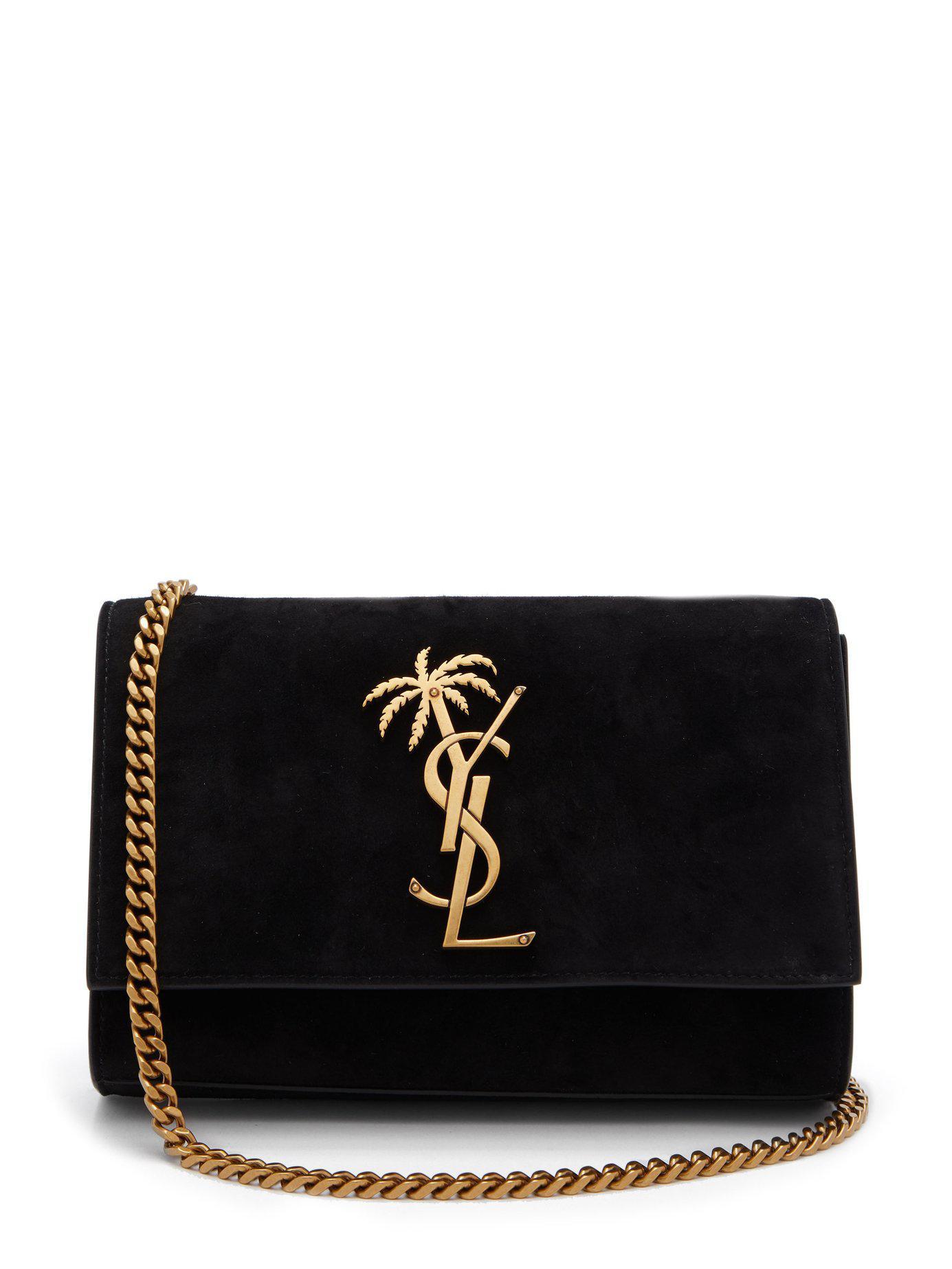a7b9fd92e7 Saint Laurent. Women s Black Kate Palm Tree Monogram Suede Cross Body Bag