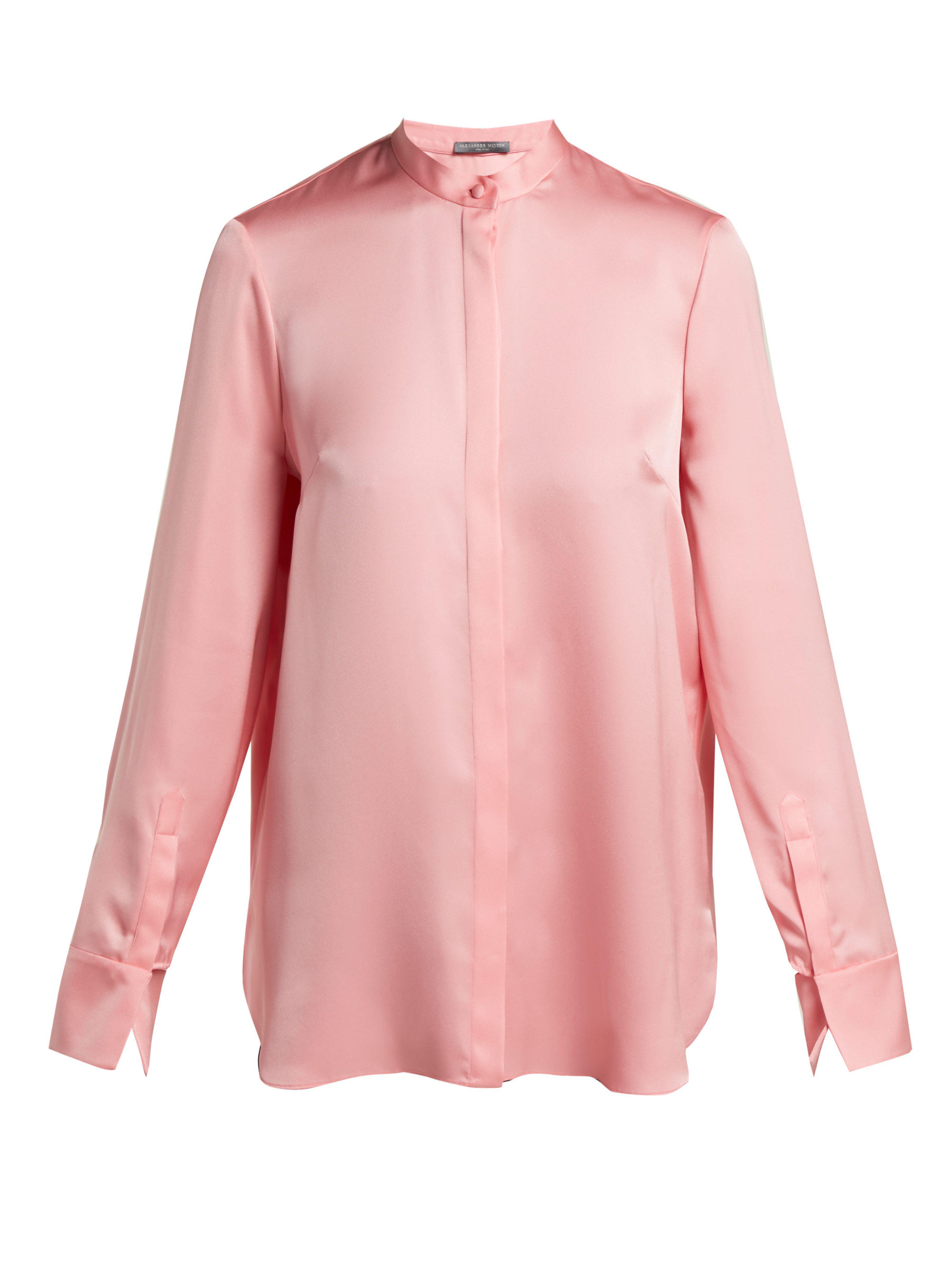 ebfb4a8b101558 Alexander McQueen Silk Satin Long Sleeve Blouse in Pink - Lyst